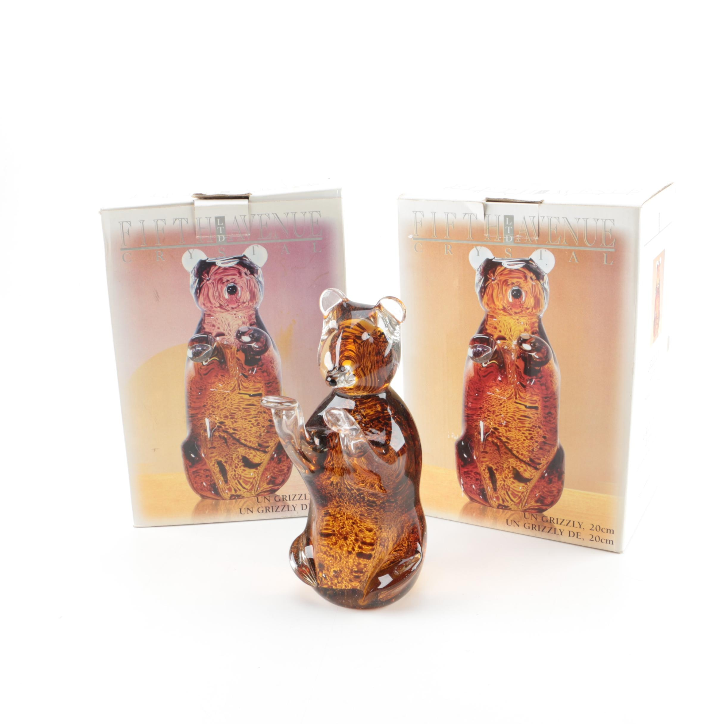 Fifth Avenue Ltd. Crystal Grizzly Bear Figurines