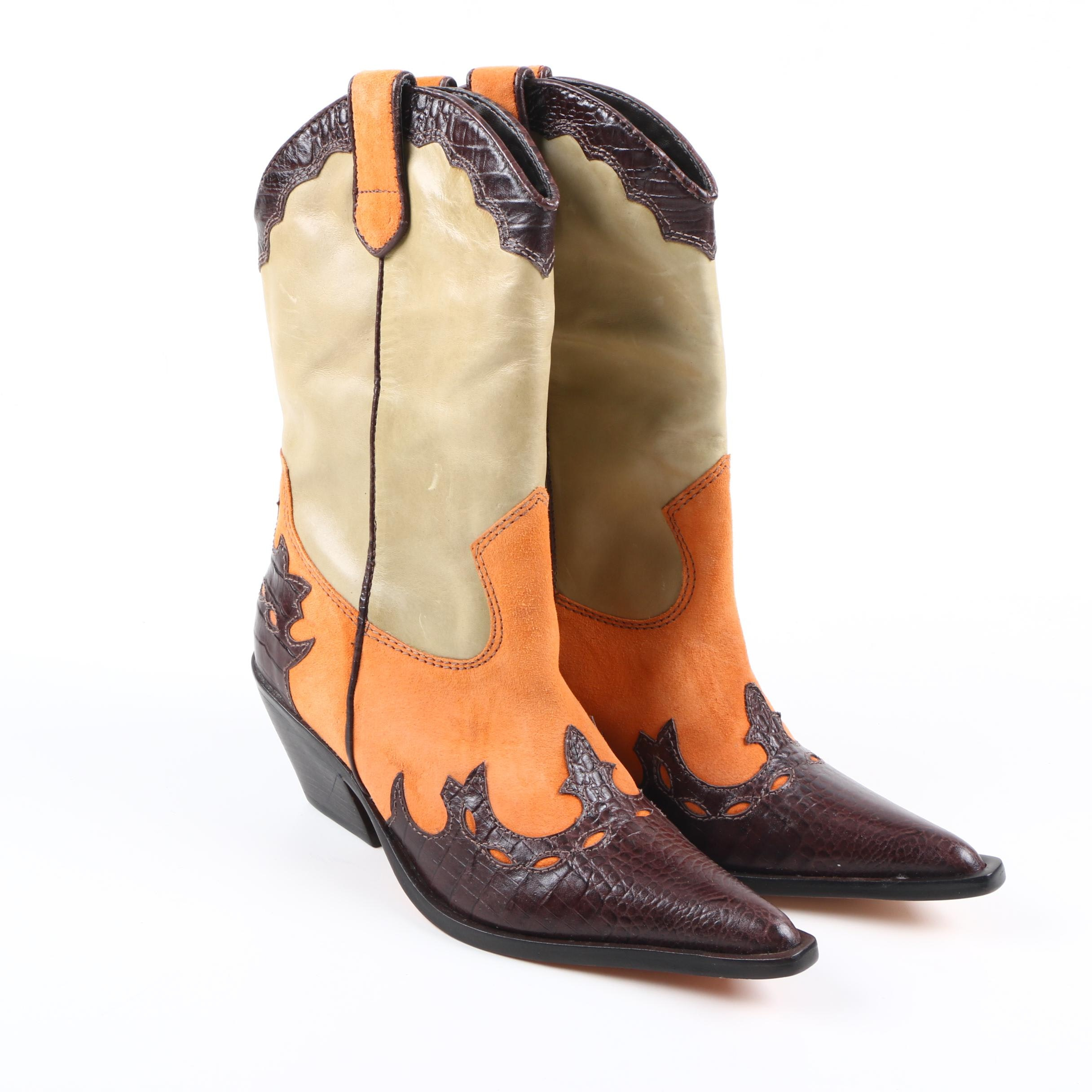 Women's Leather Cowboy Boots by Diego di Lucca
