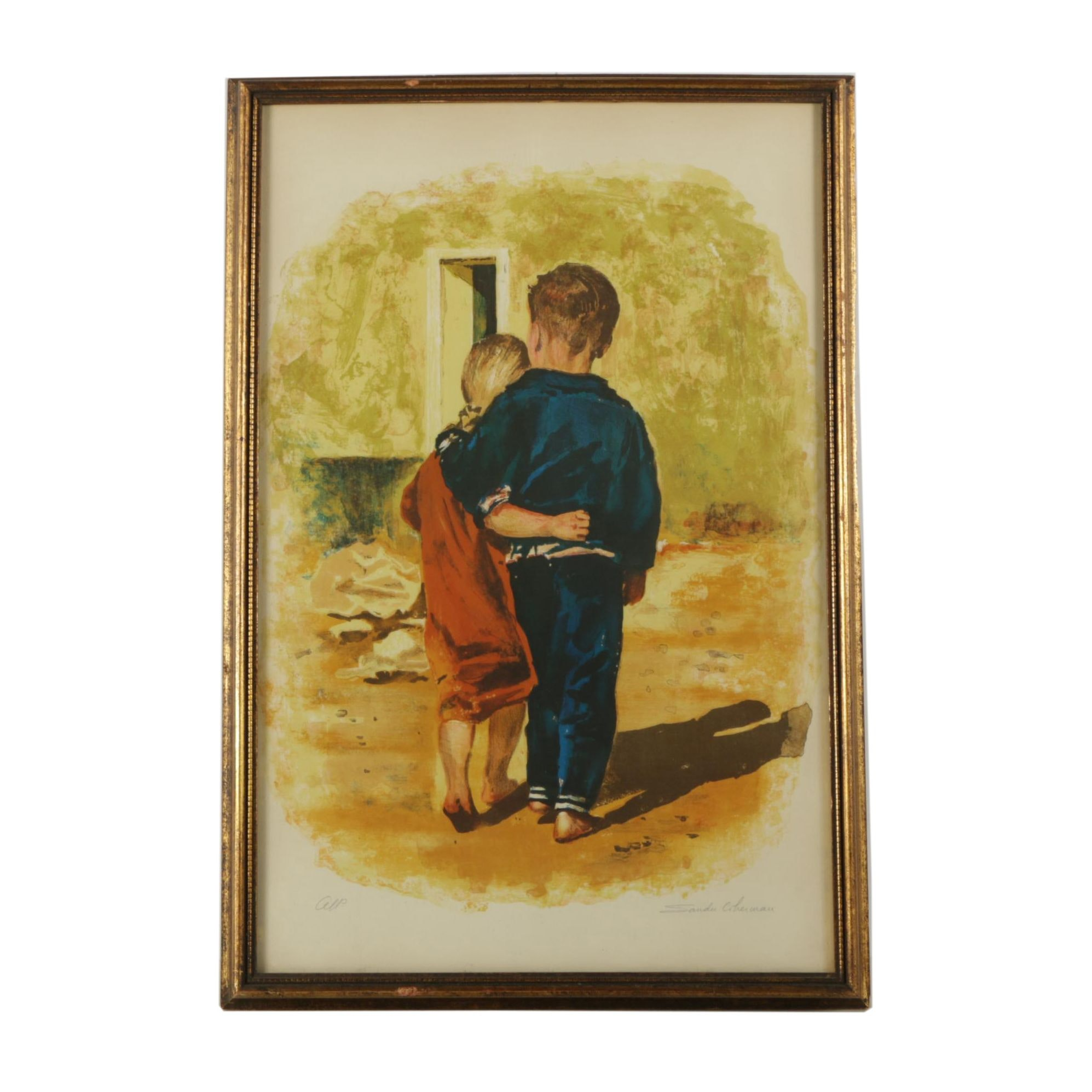 Signed Color Lithograph of Two Children