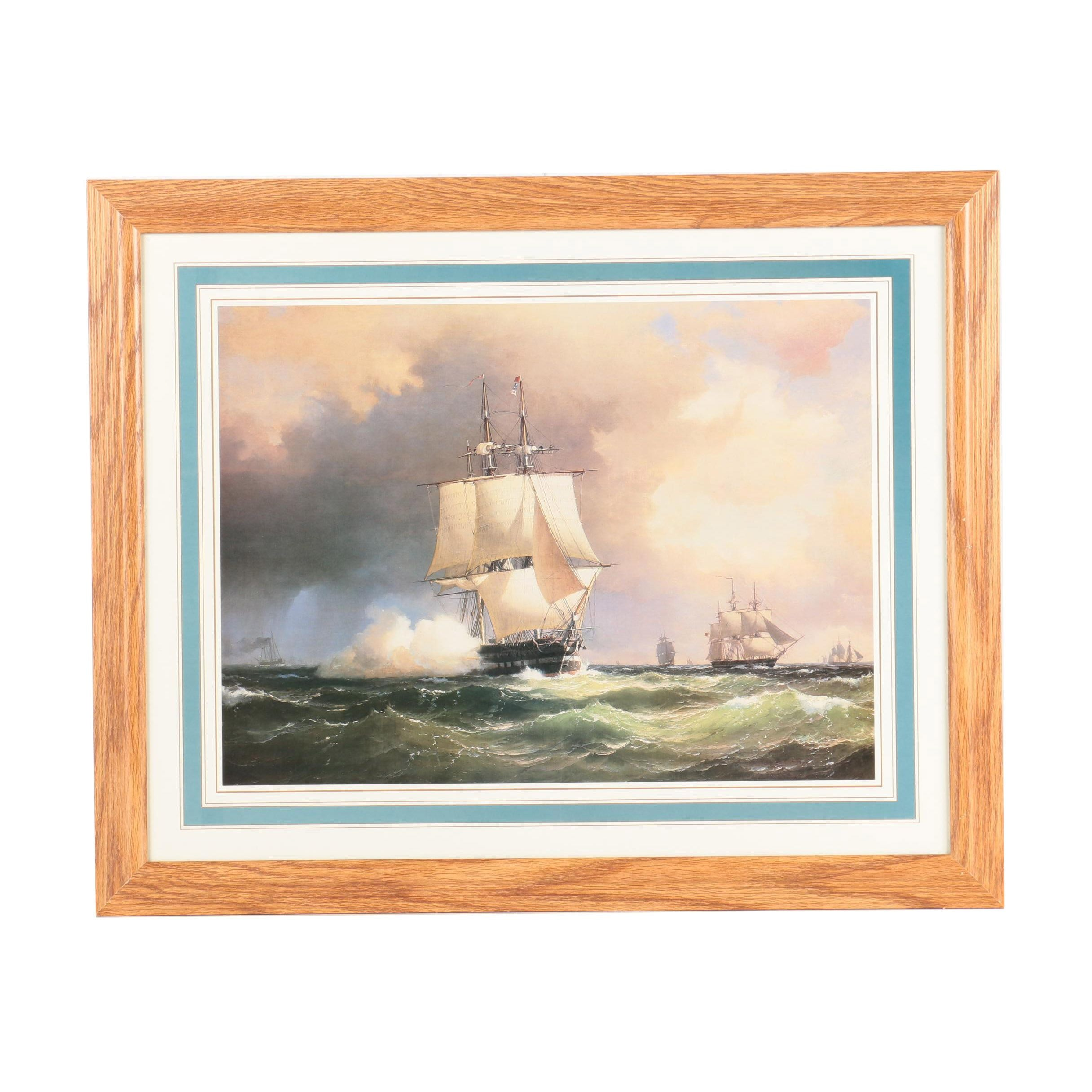 Offset Lithograph Print on Paper After Maritime Landscape of Battle at Sea