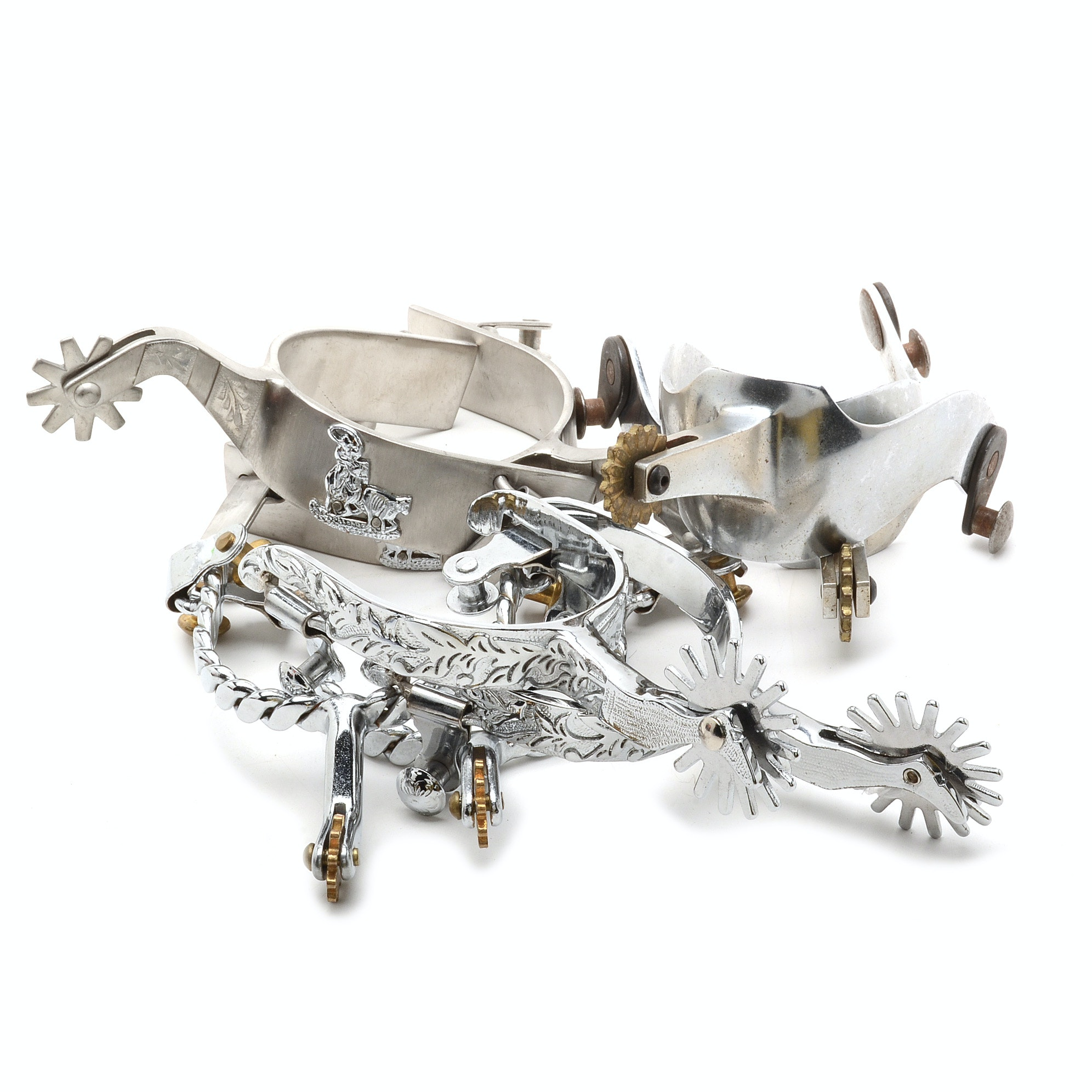 Group of Silver Tone Boot Spurs