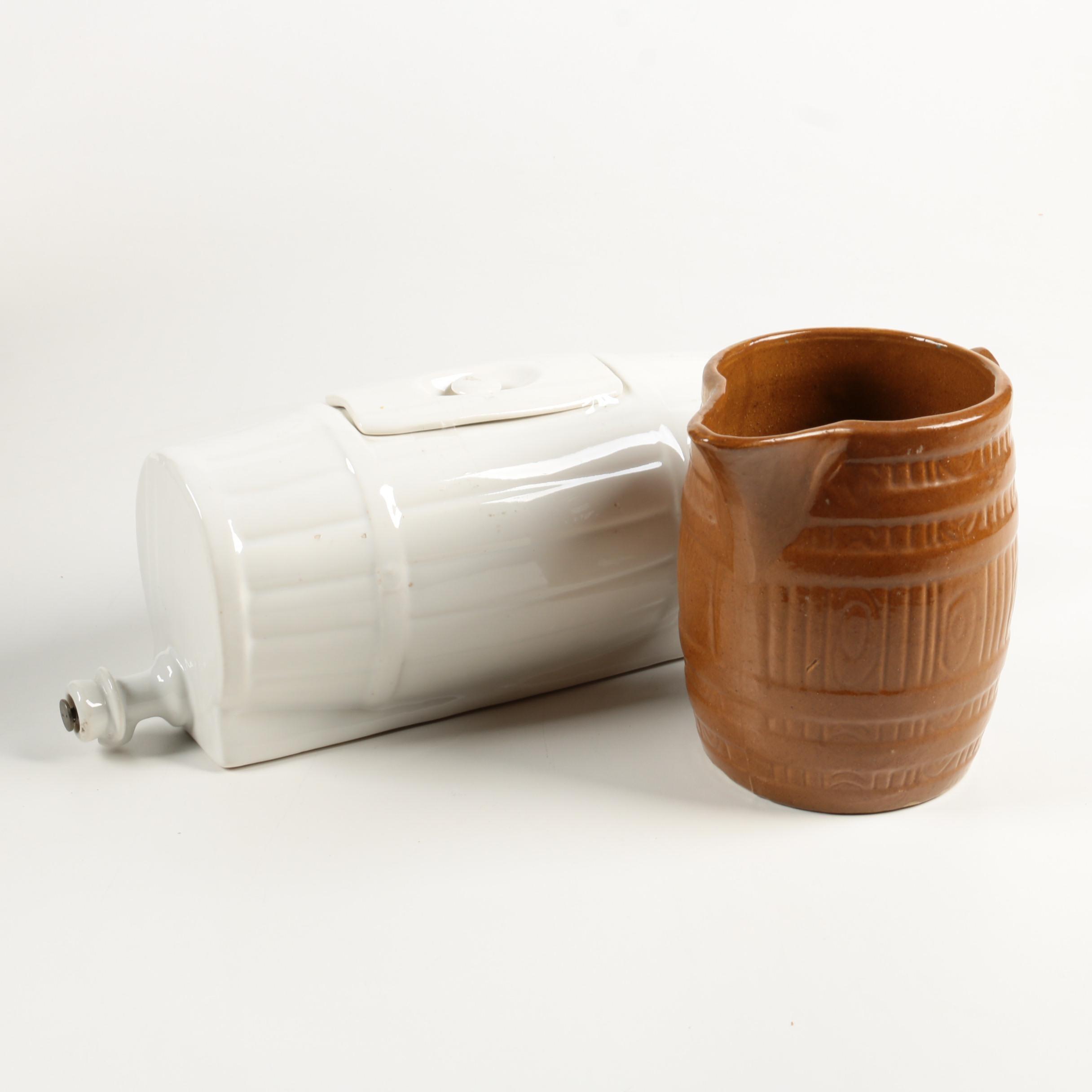 Vintage Ceramic Barrel Drink Dispenser and Pitcher