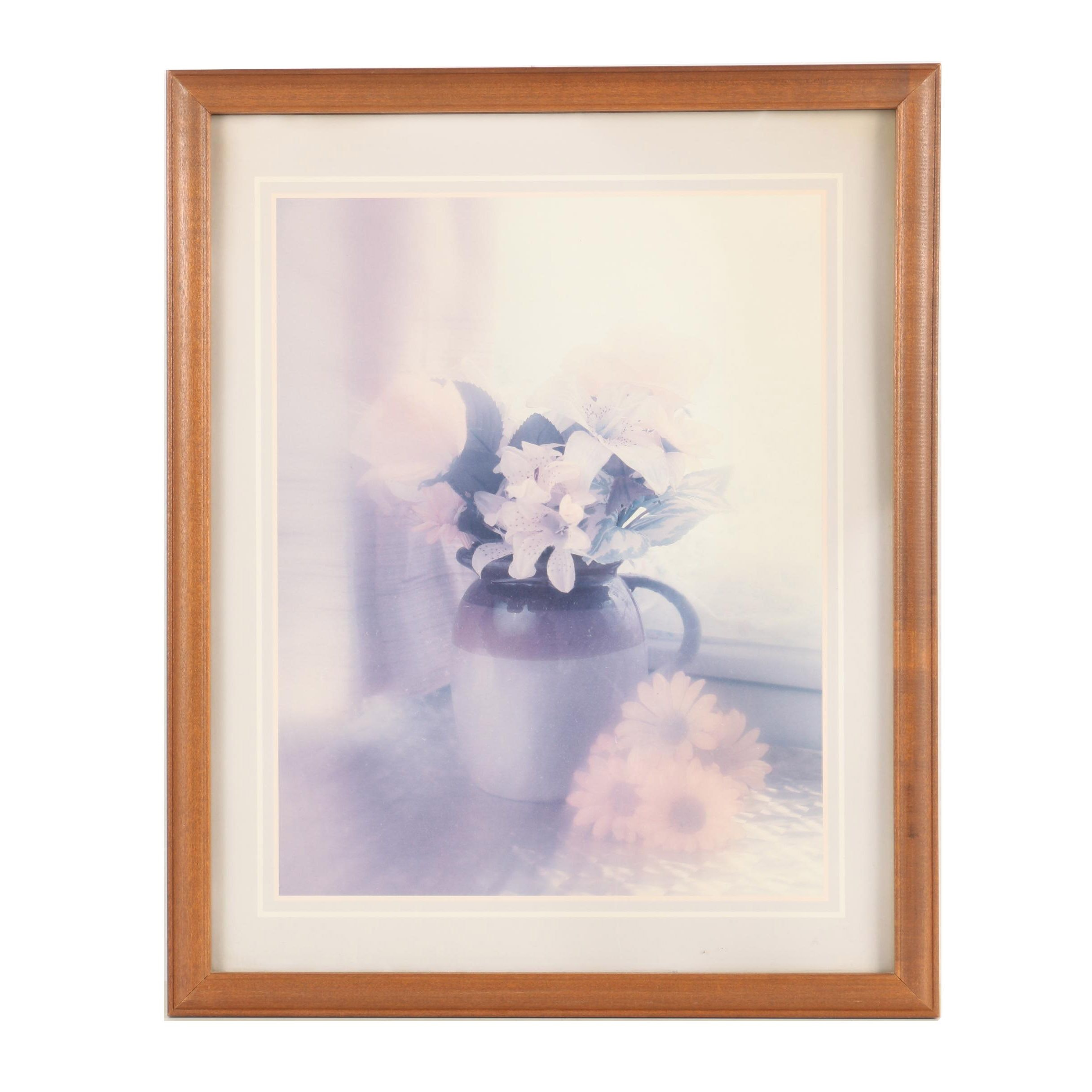 Offset Lithograph Print on Paper After Photograph of Floral Still Life