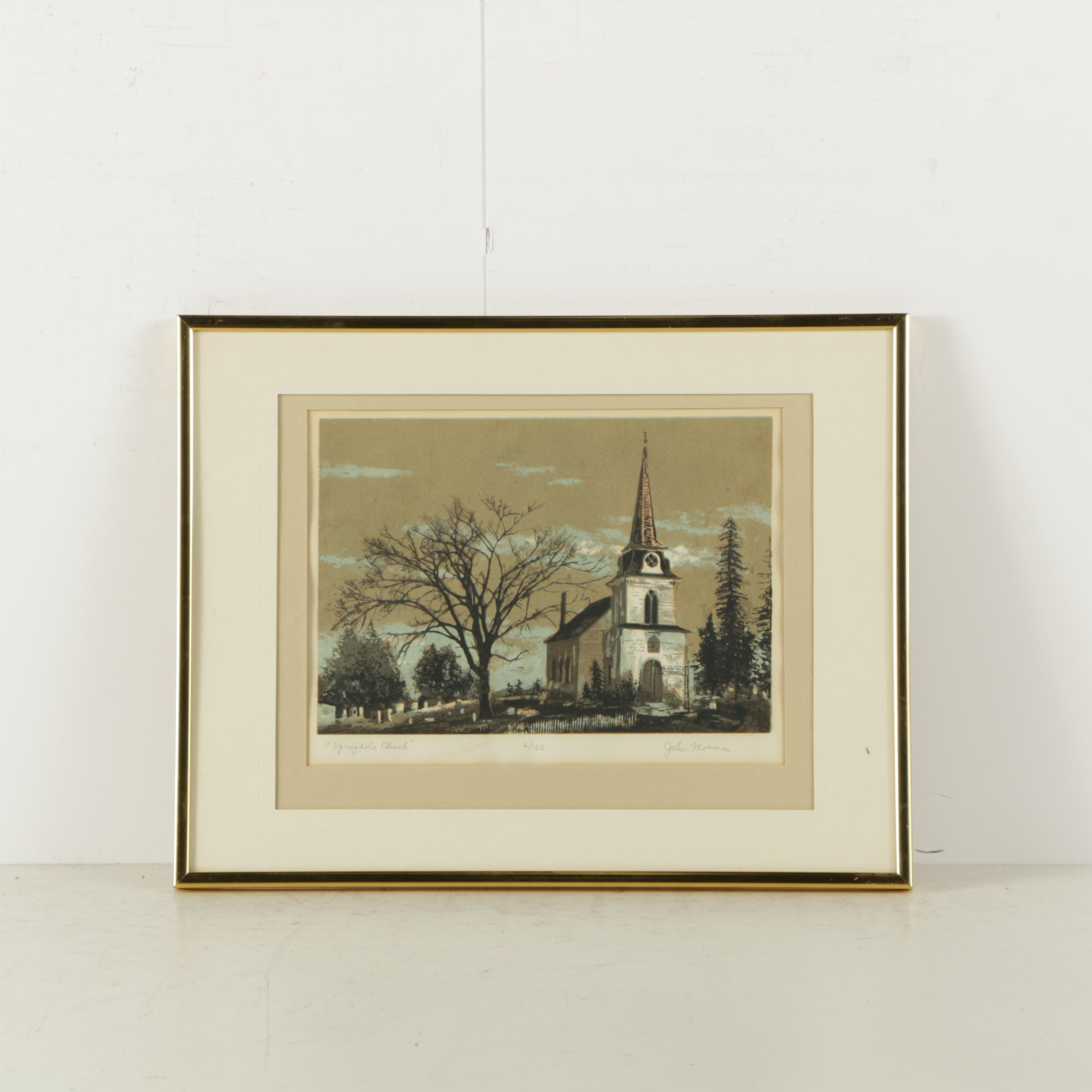 "John Mosiman Limited Edition Serigraph on Paper ""Springdale Church"""