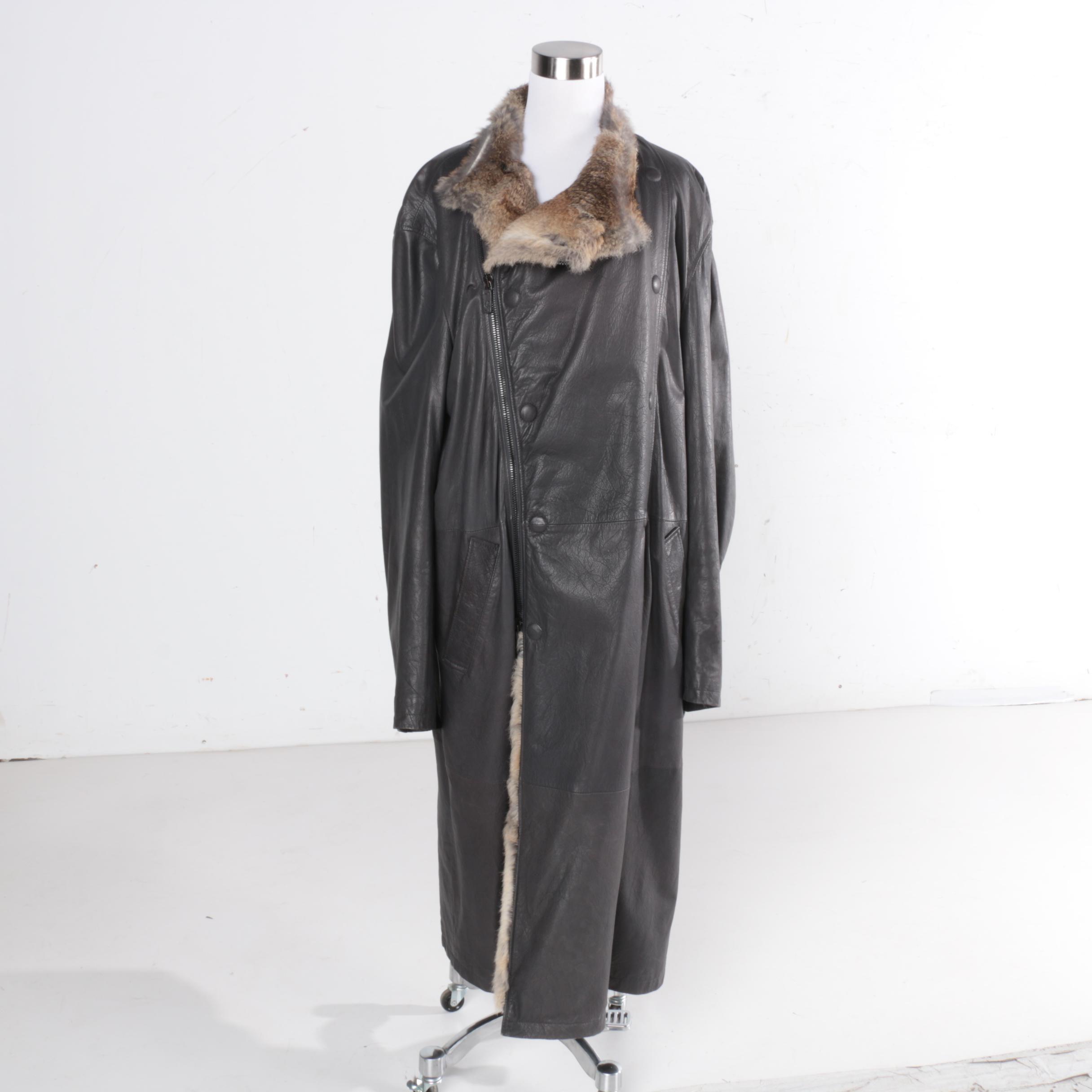 Men's Giorgio Armani Leather Overcoat with Rabbit Fur Trim