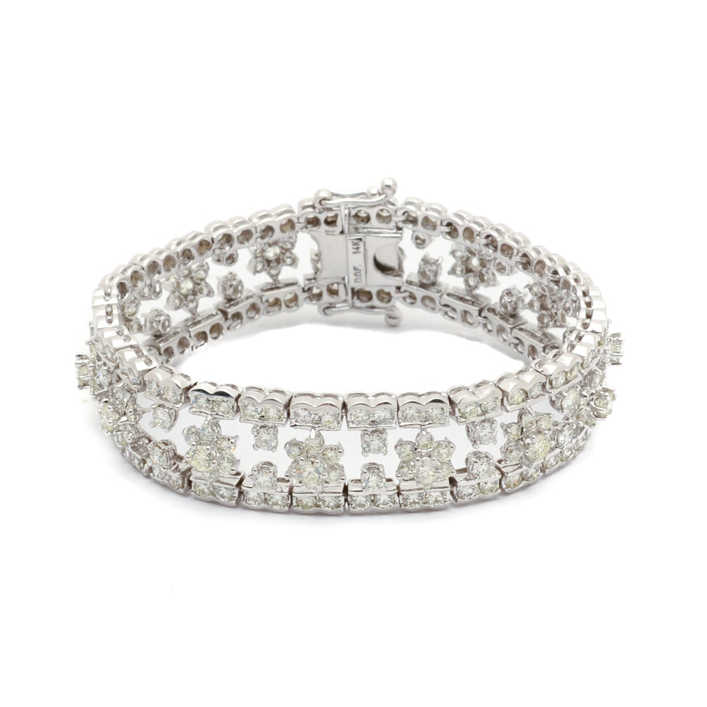 14K White Gold 16.00 CTW Diamond Statement Bracelet