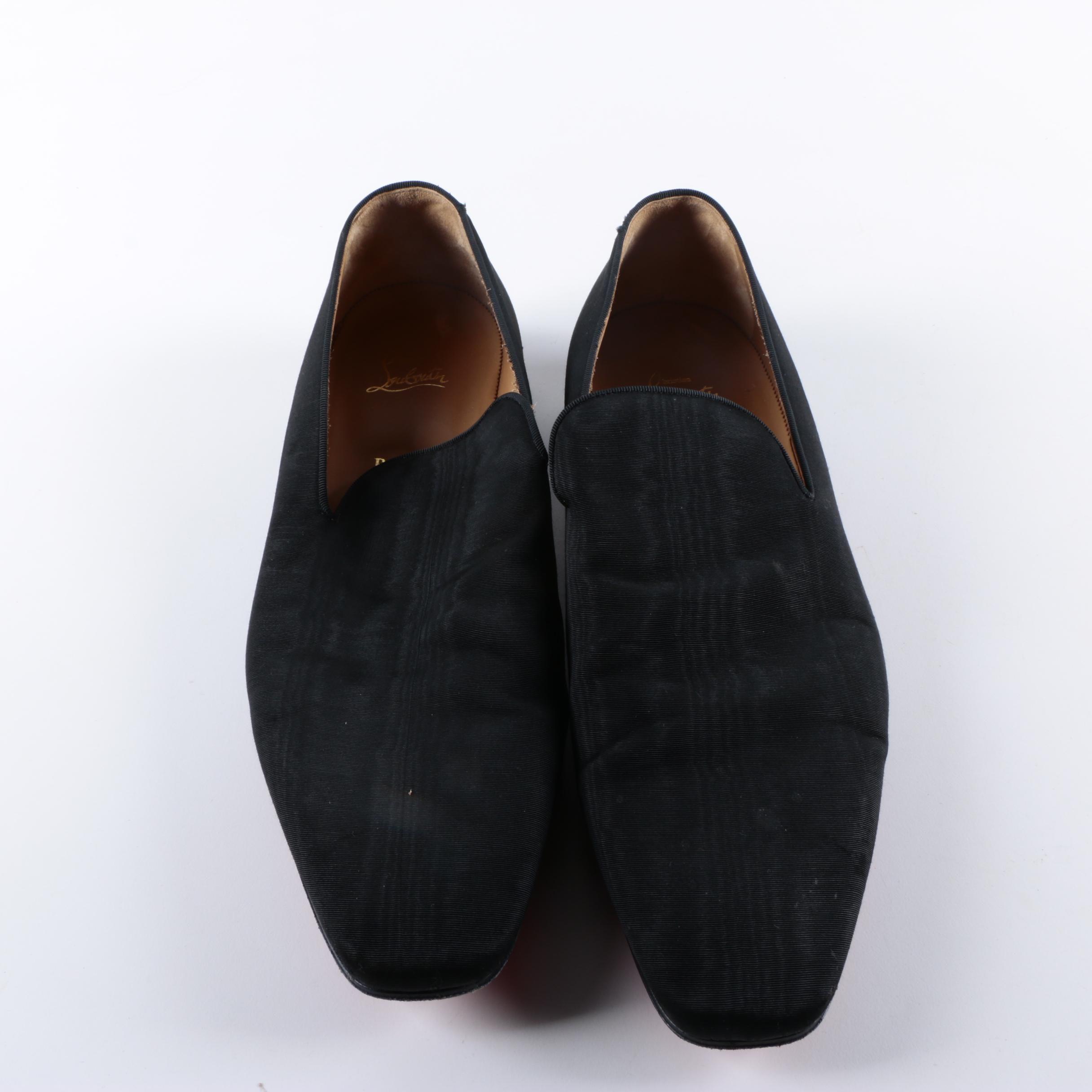 Men's Christian Louboutin Dandelion Black Moire Loafers