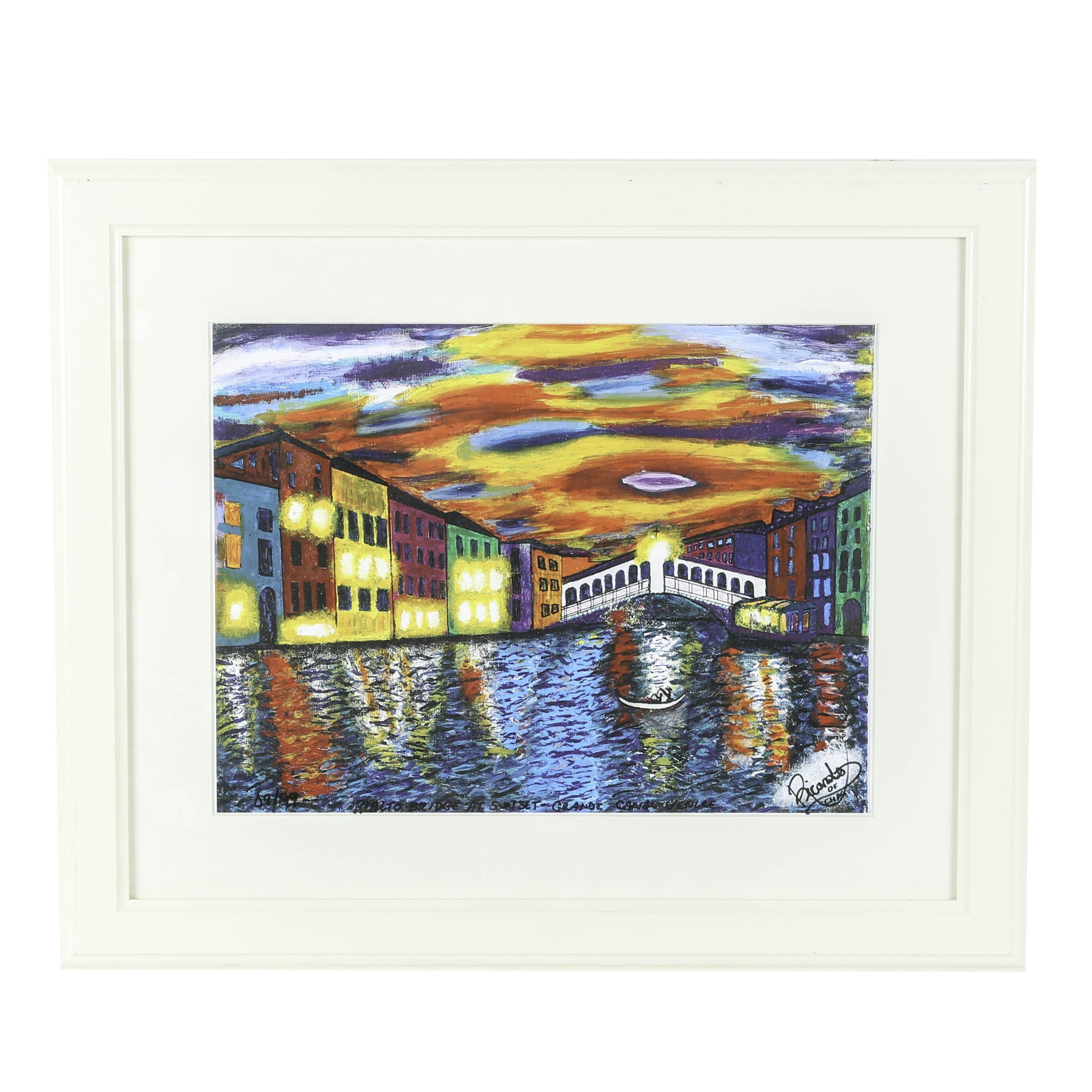 "Richardo of Charleston Limited Edition Lithograph ""Rialto Bridge At Sunset"""