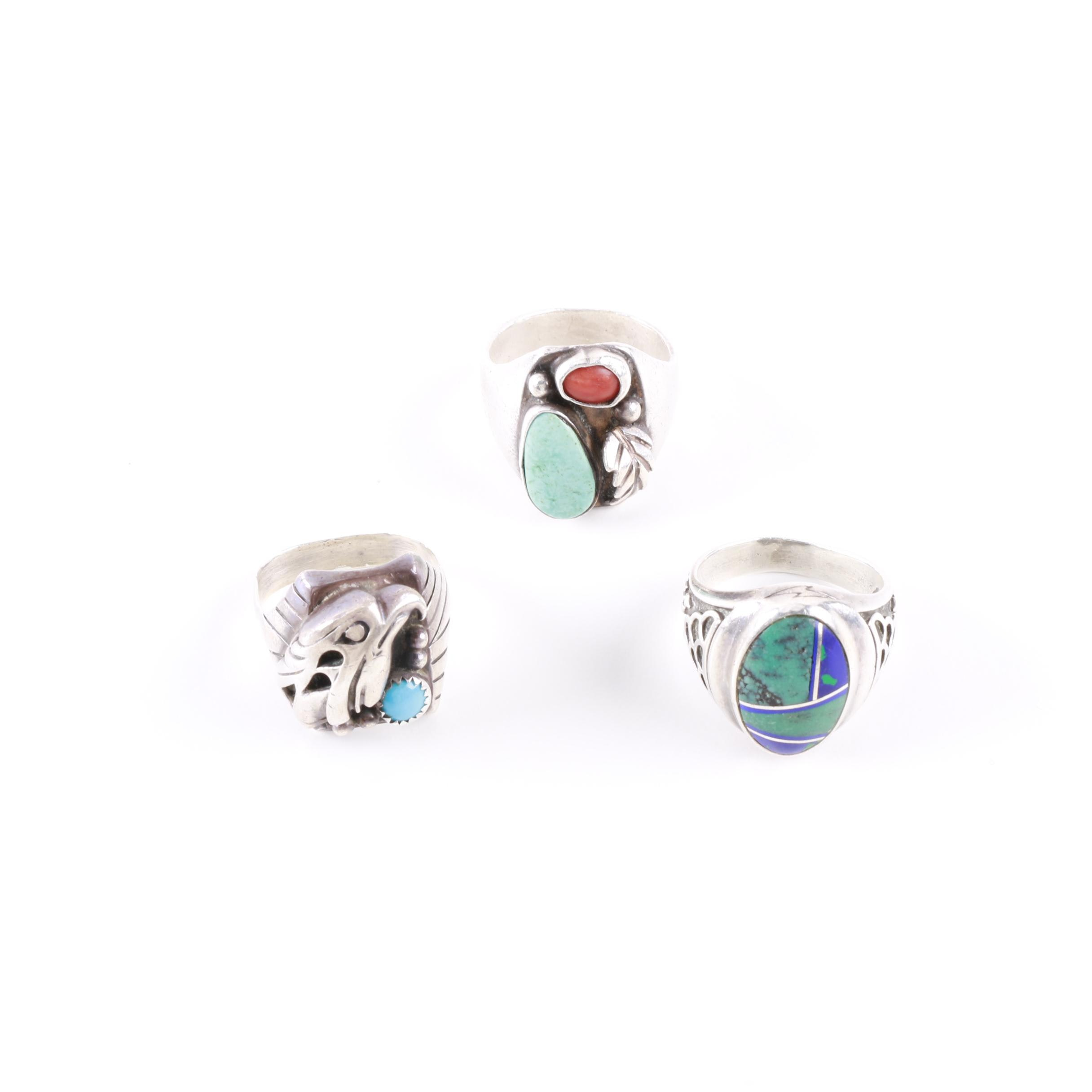 Southwest Style Sterling Silver Rings Including Gemstones