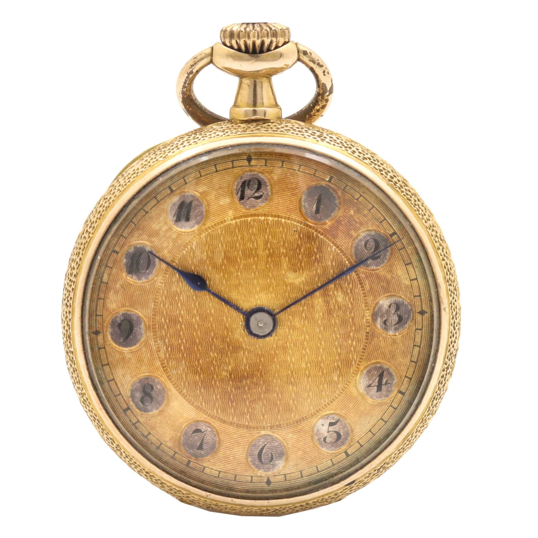 14K Yellow Gold Open Face Enameled Pocket Watch