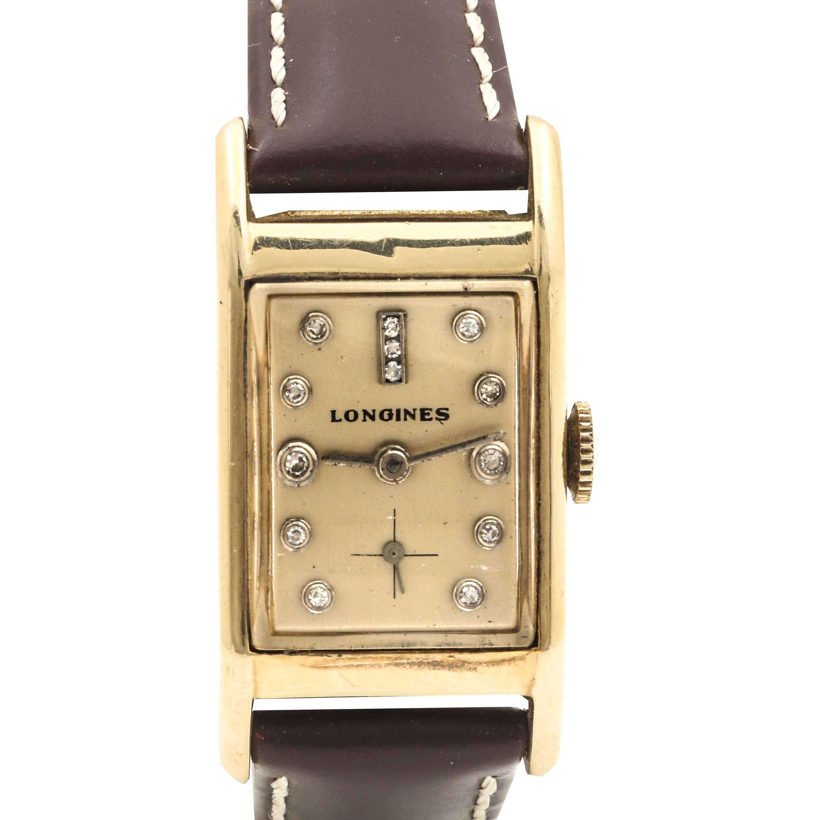 Longines 14K Yellow Gold Diamond Wristwatch