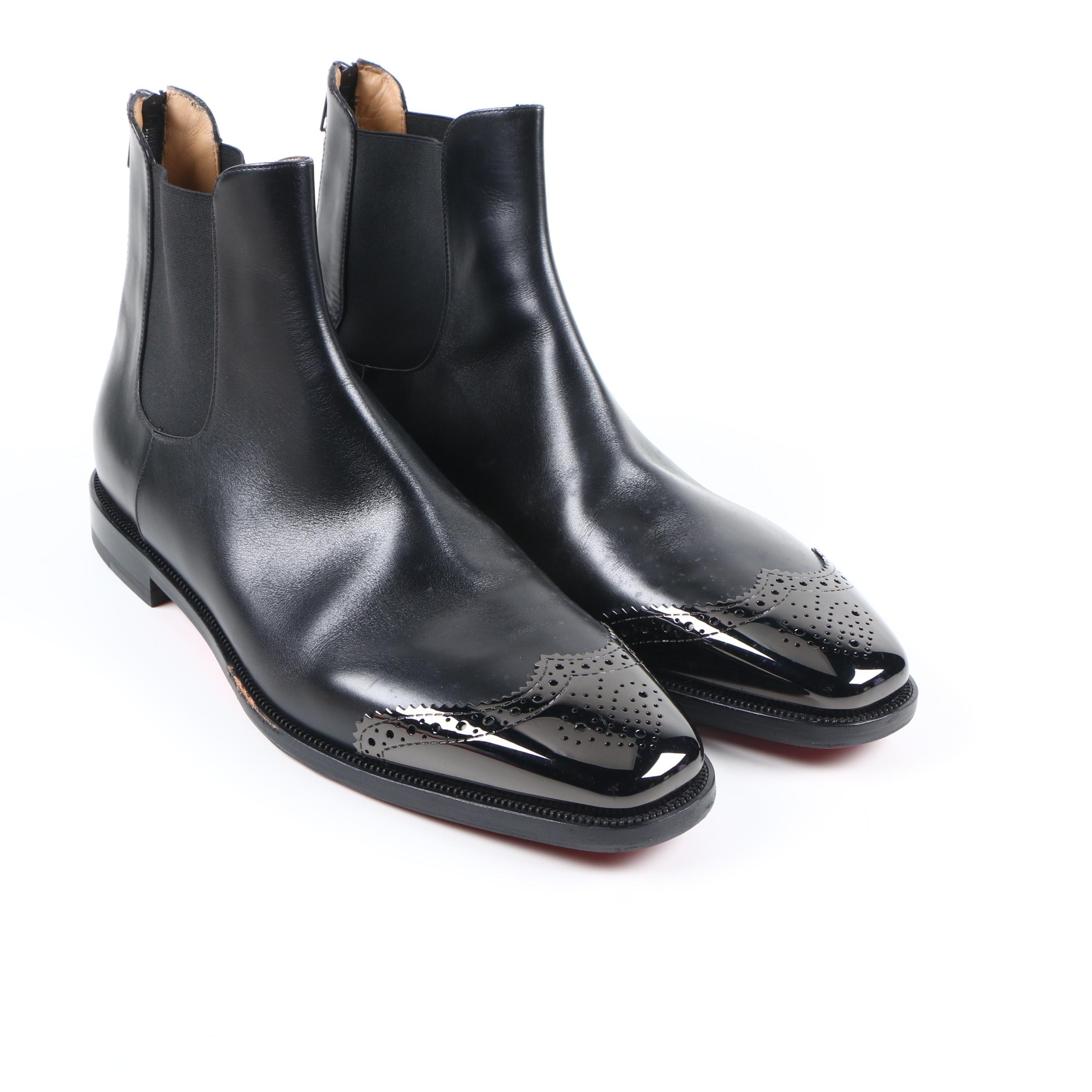 Men's Christian Louboutin Black Leather Chelsea Boots