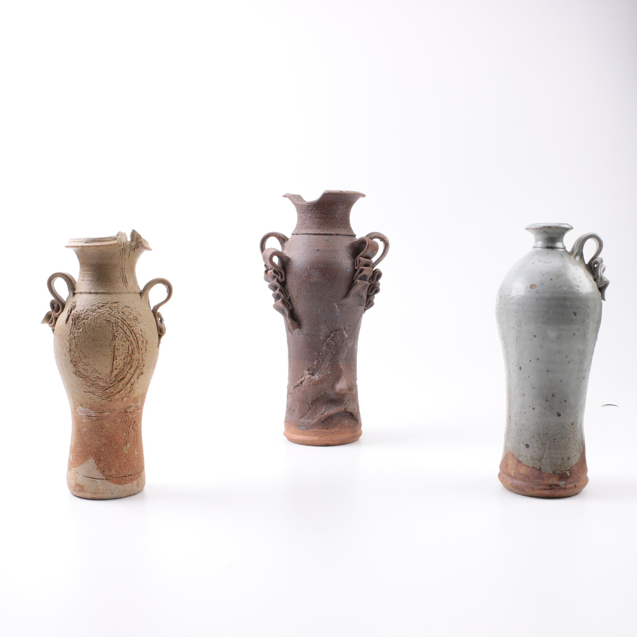 Collection of Signed Hand Thrown Stoneware Vessels By Nero
