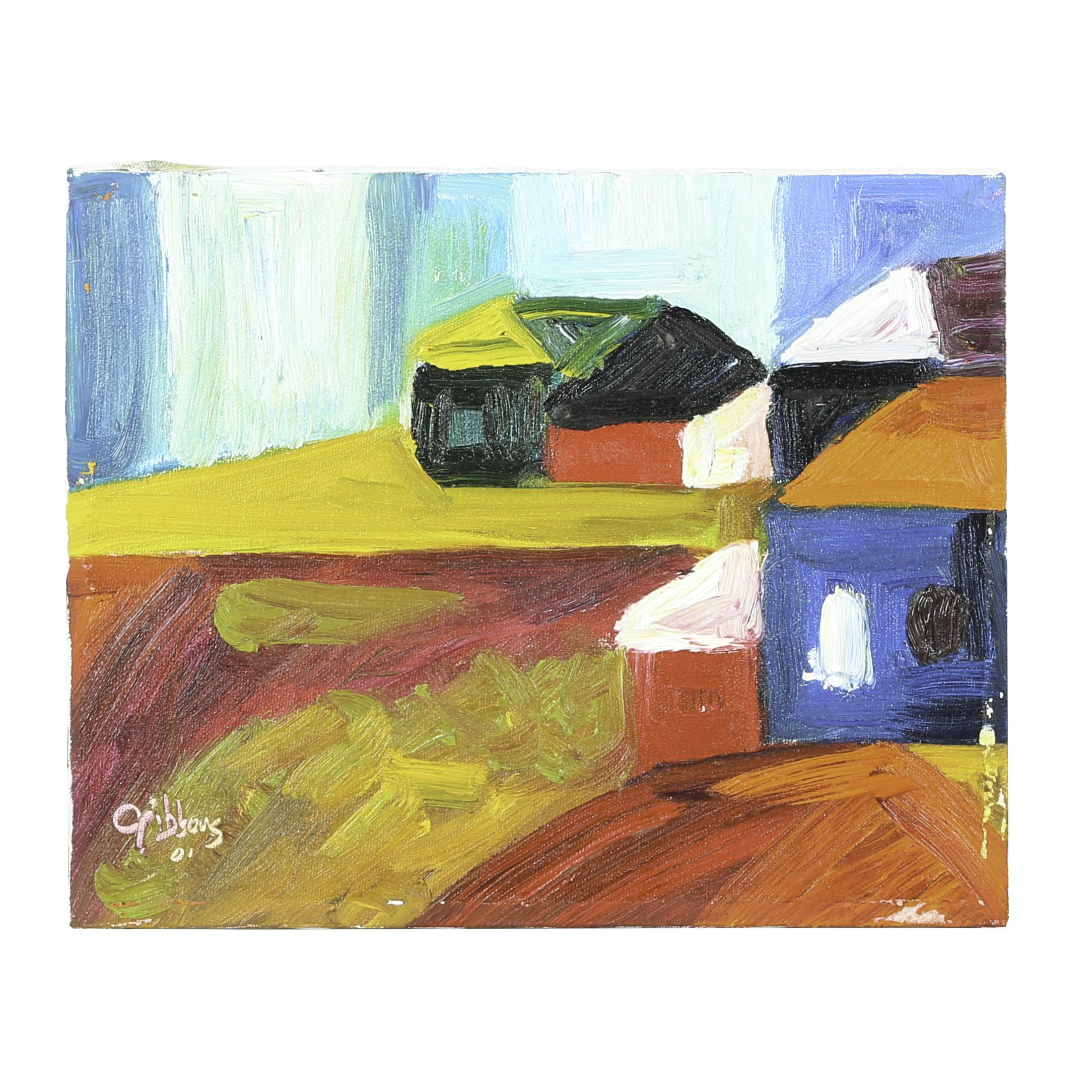 "Mike Gibbons Oil Painting on Canvas ""Barns"""