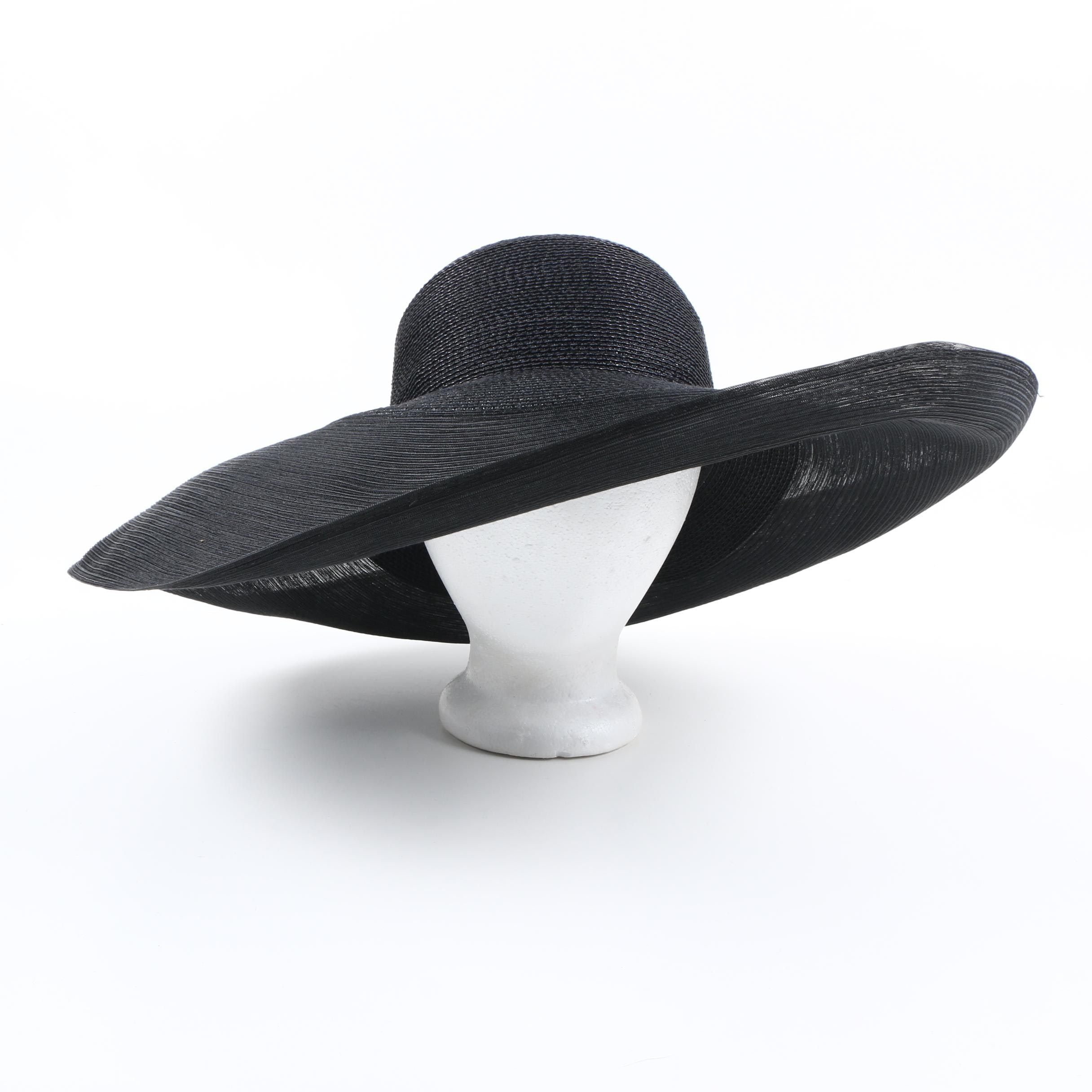 Vintage Wide Brim Black Straw Hat by Gabriele Amar for Frank Olive