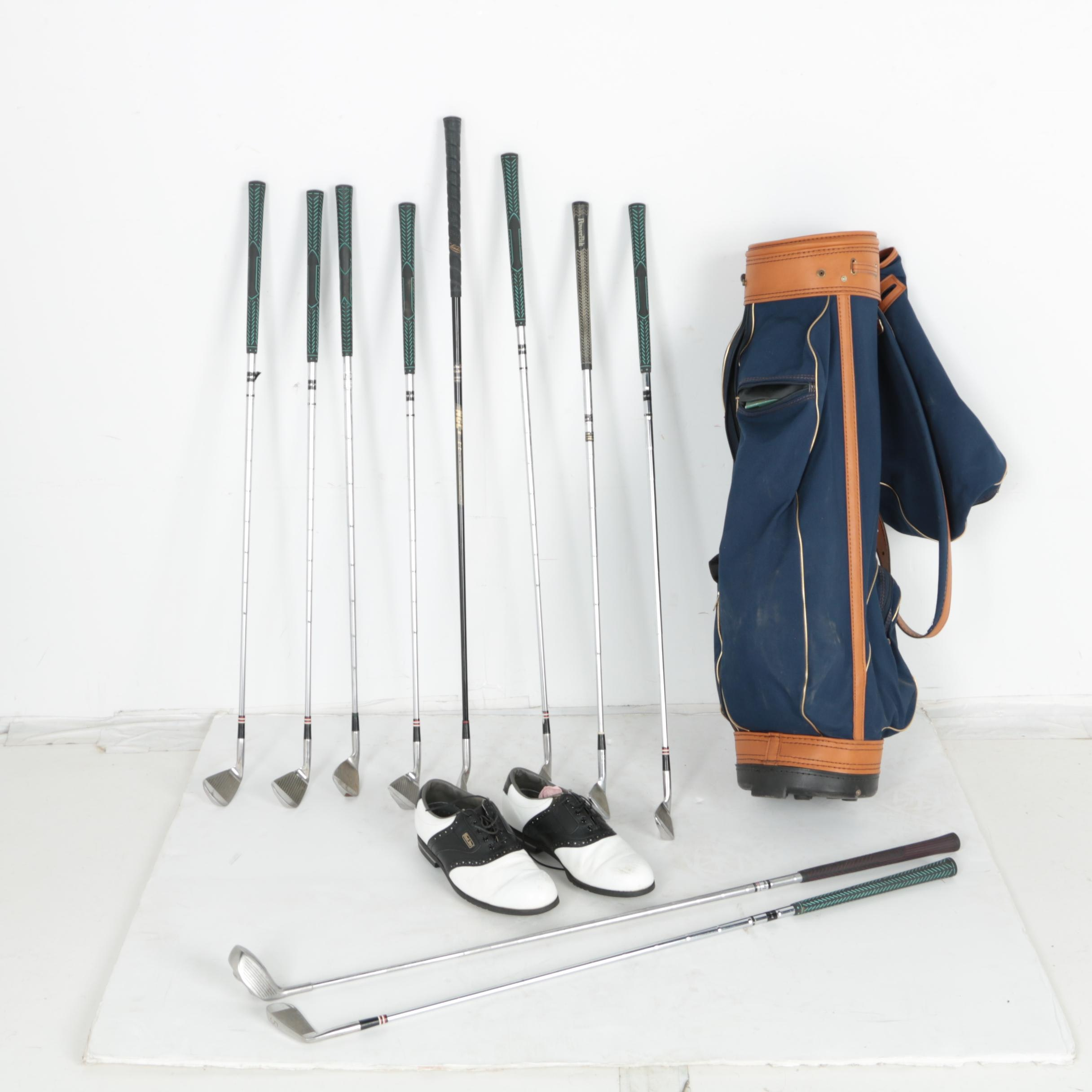 Assortment of Golf Clubs with Bag and Shoes