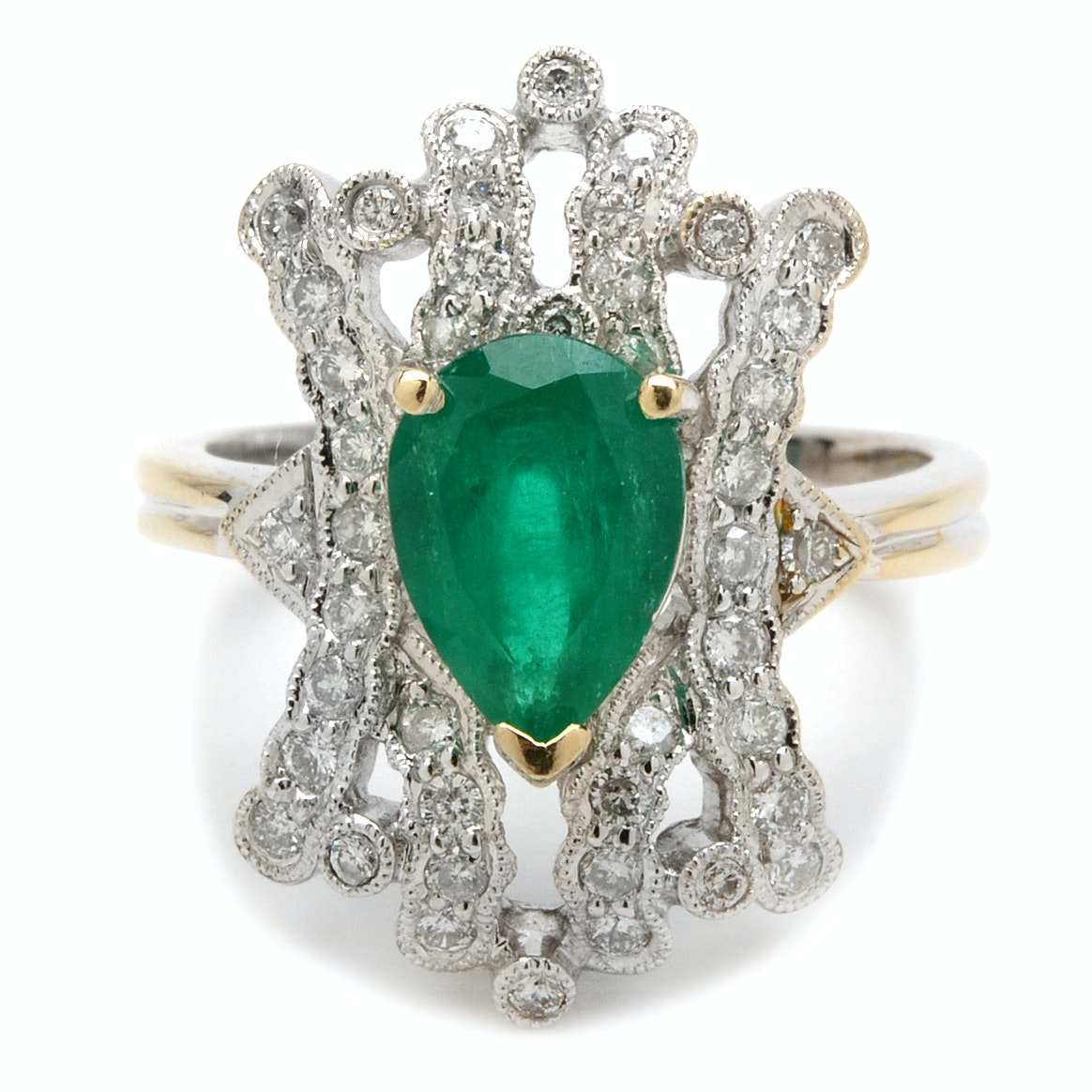 18K White Gold Emerald and Diamond Fashion Ring