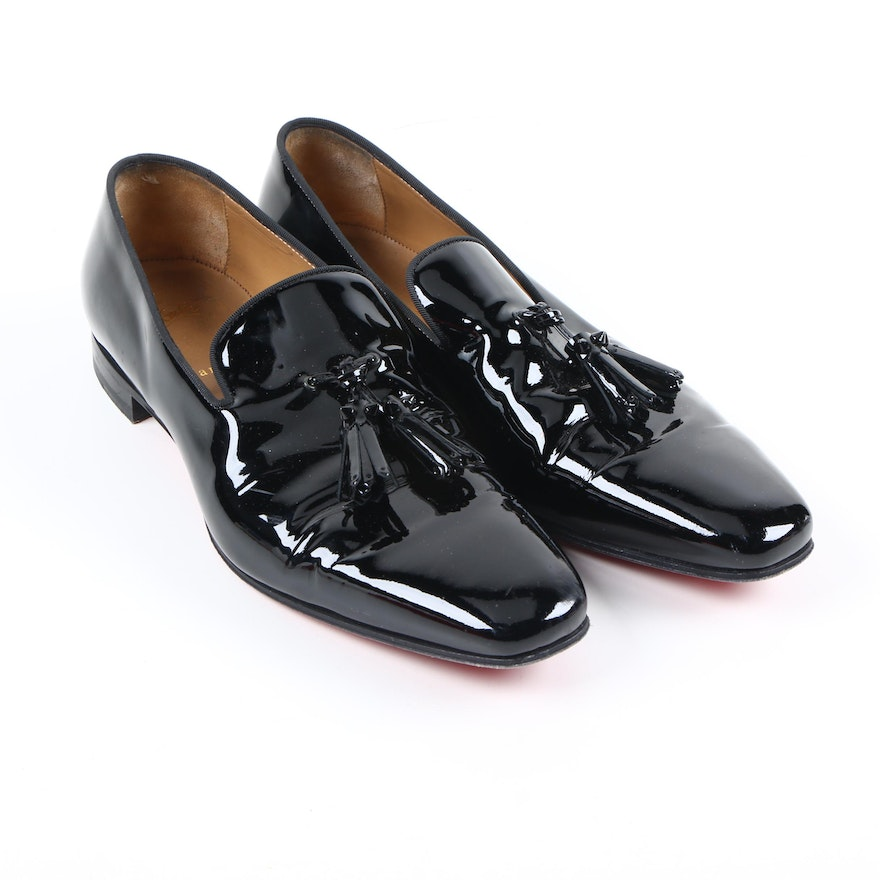 56c08a3514e Men's Christian Louboutin Dandelion Tassel Black Patent Leather Loafers