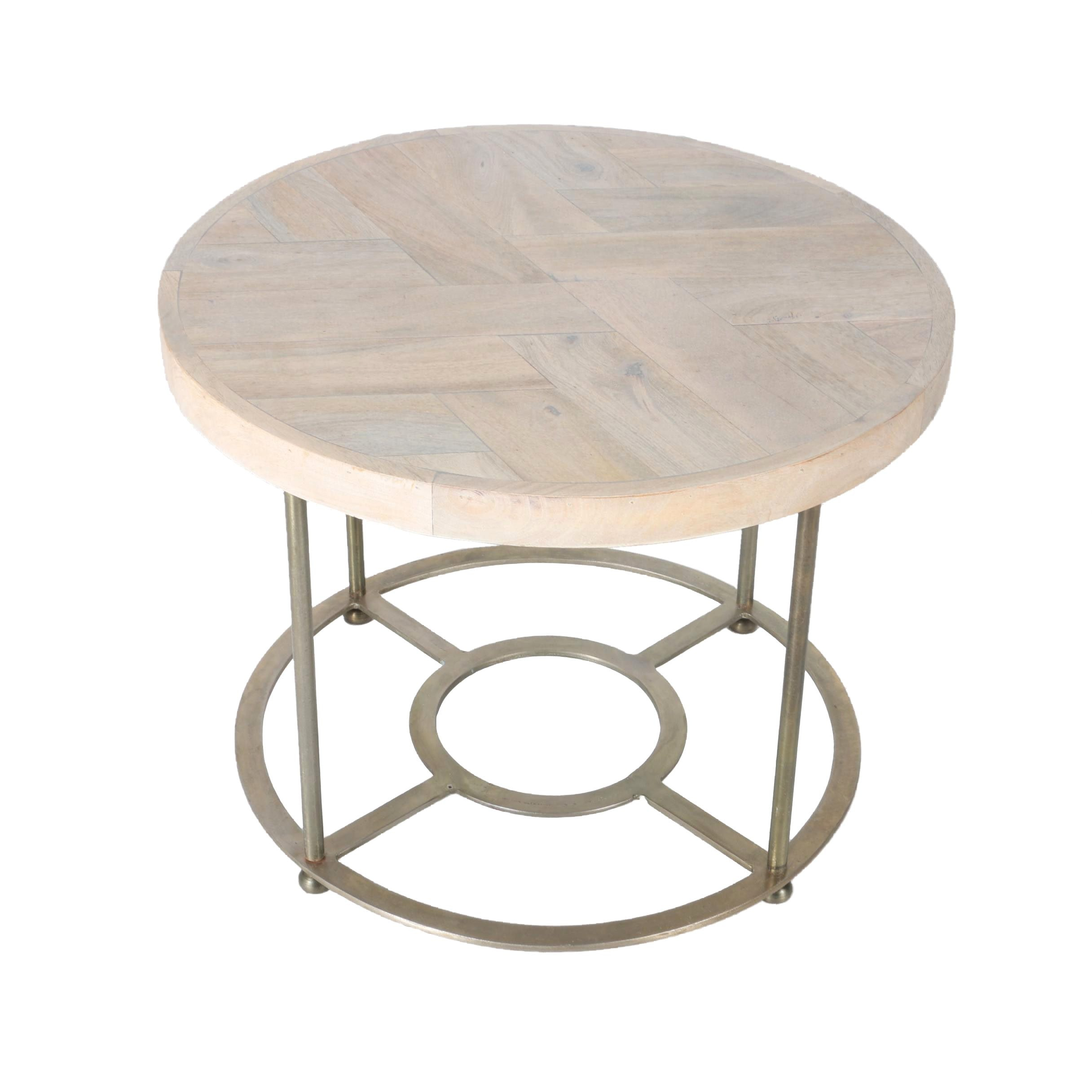 Laminated Wood And Metal Side Table