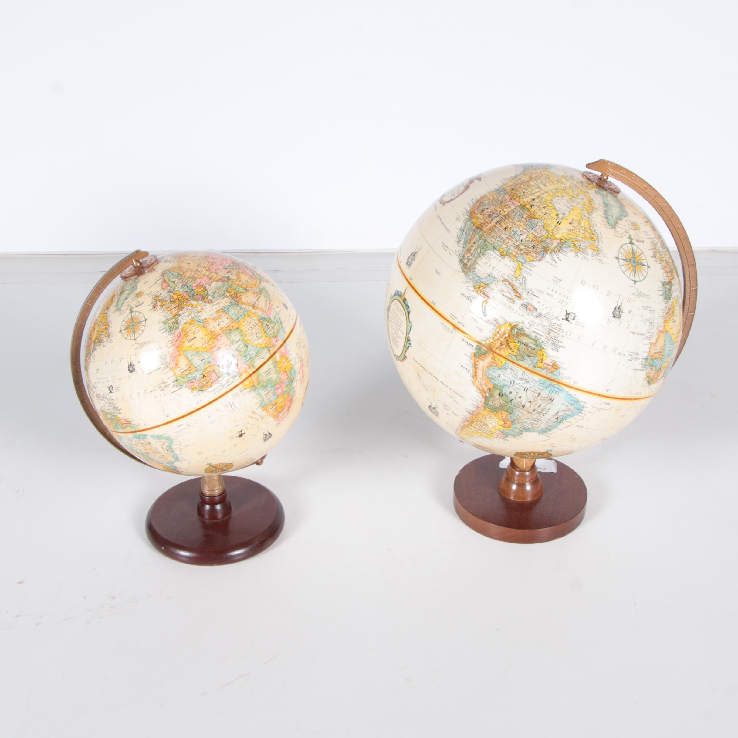 Pair of Desktop Globes with Wooden Bases