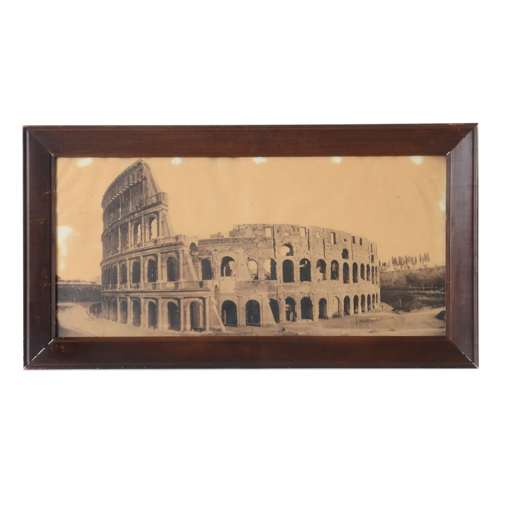"Circa 1885 Giacomo Brogi Panoramic Carbon Print ""The Colosseum, Rome"""