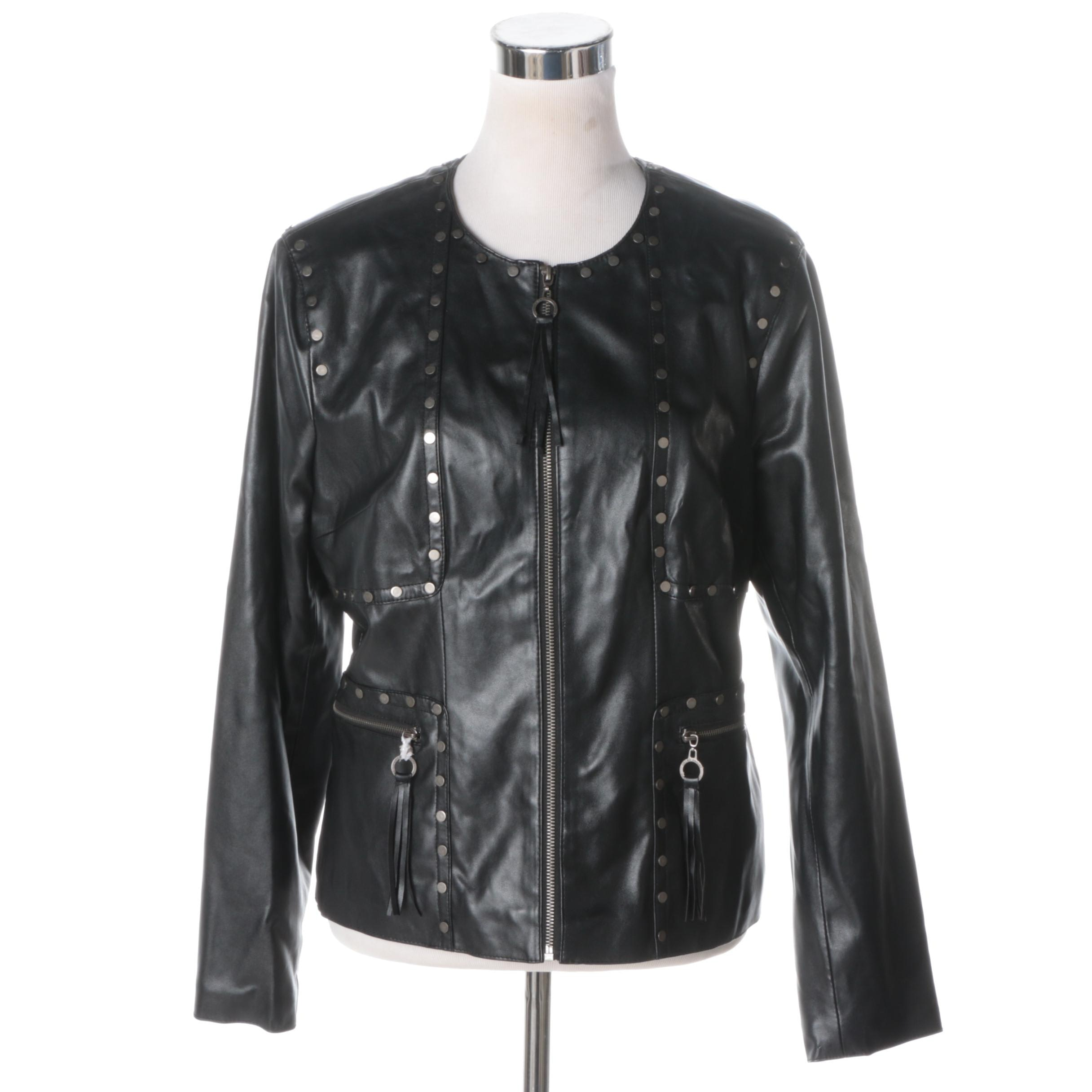 Women's Chi Faux Leather Studded Jacket