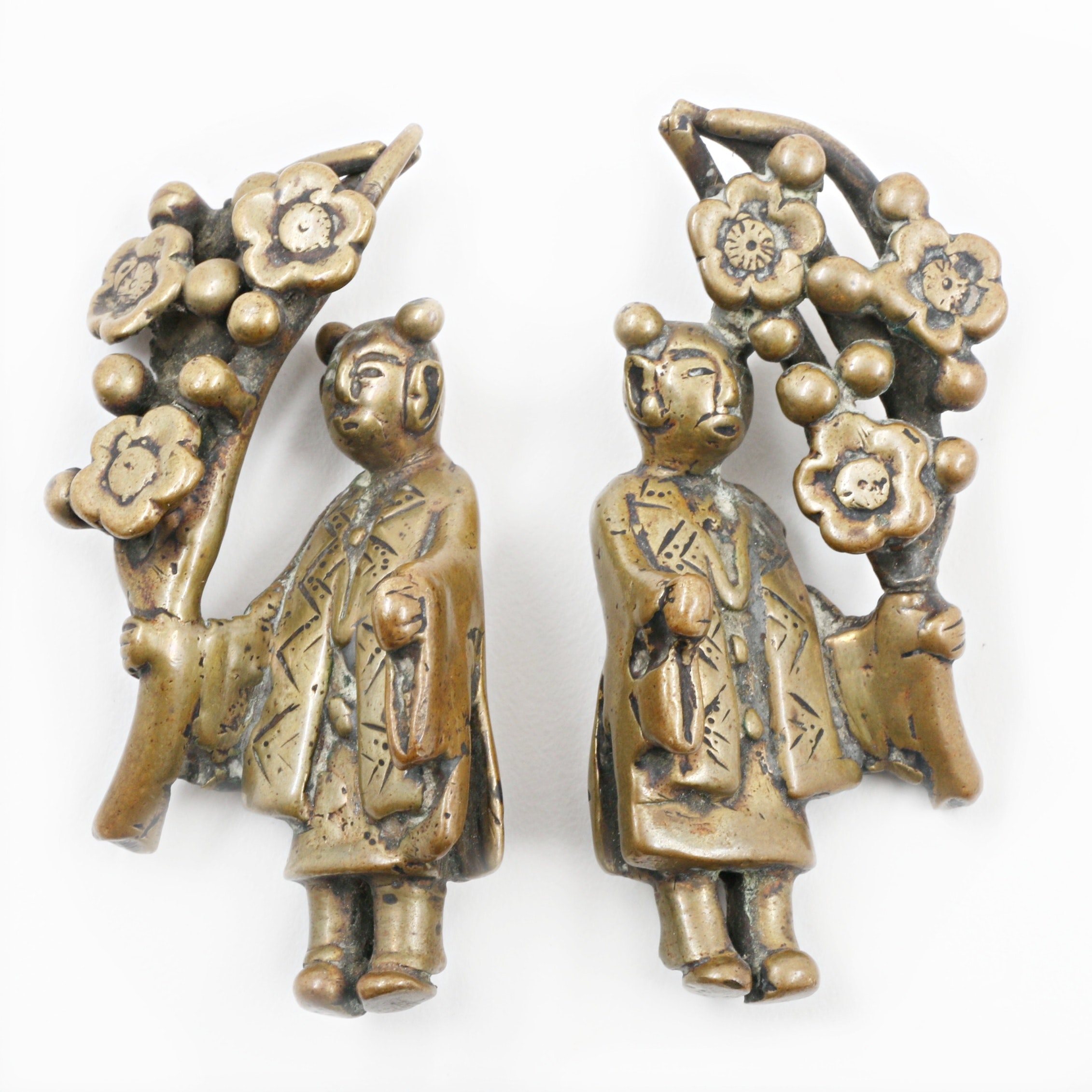 Pair of Chinese Bronze Figurative Paperweights