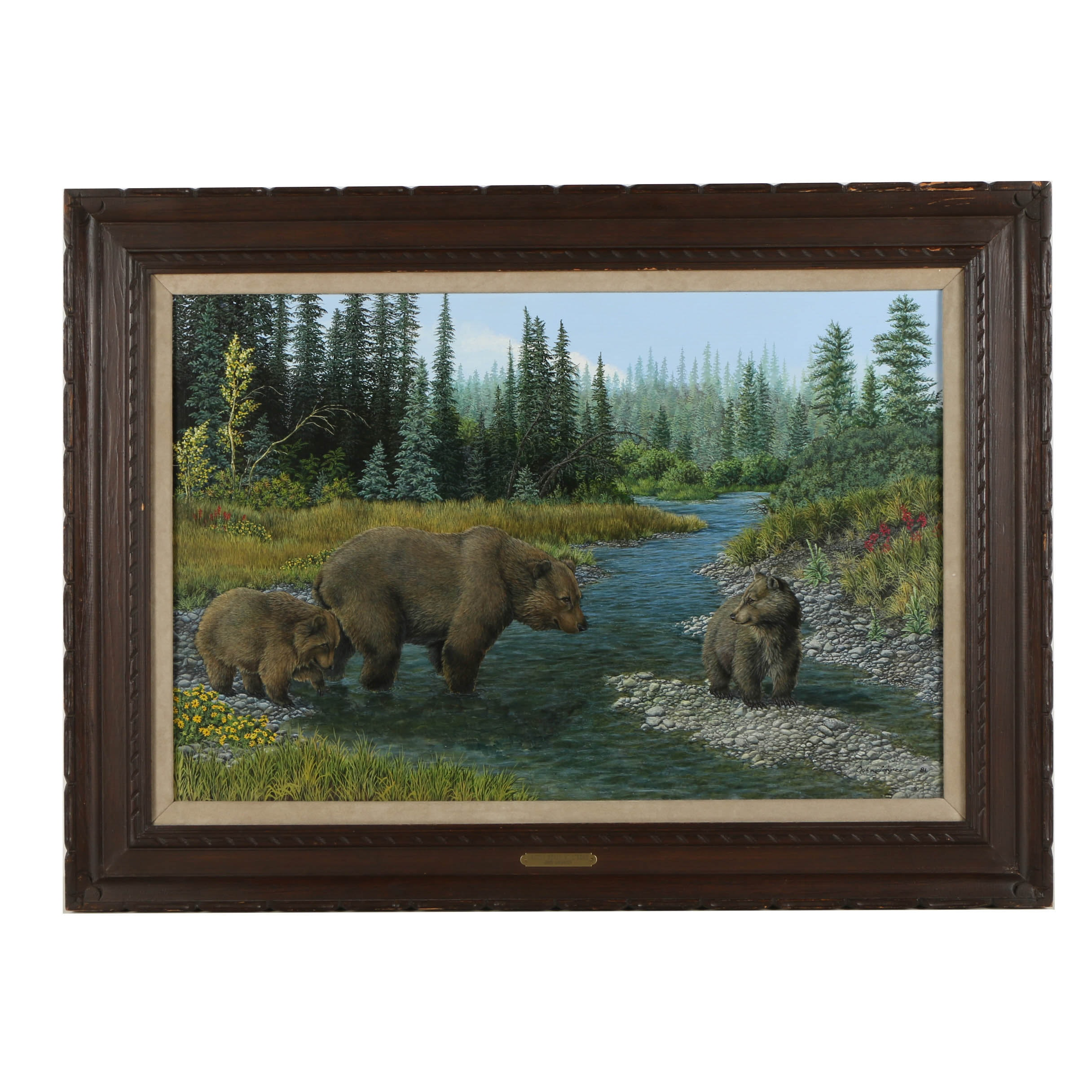 """John Lofgreen Oil Painting on Canvas  """"Grizzly Bears at Stream"""""""