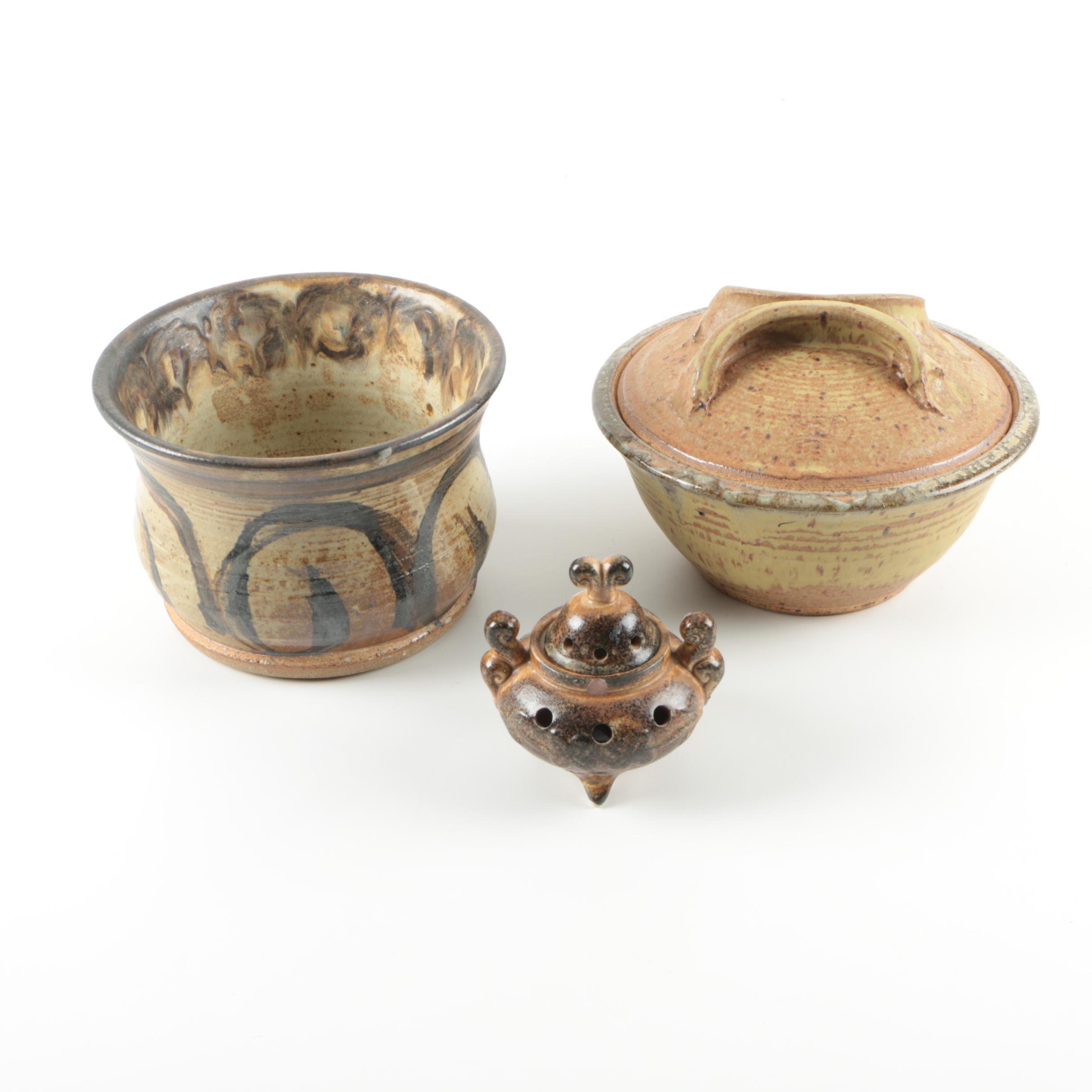 Hand Thrown Stoneware Glazed Planter and Bowl