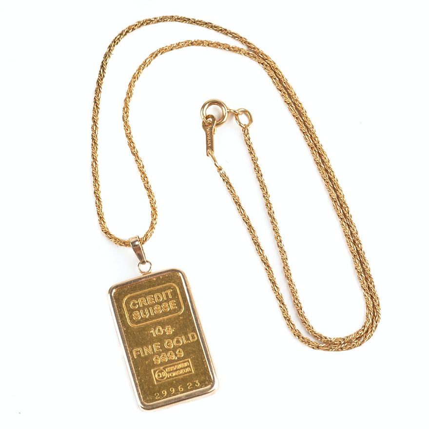 24k yellow gold credit suisse 10 gram gold bar pendant with 14k gold 24k yellow gold credit suisse 10 gram gold bar pendant with 14k gold chain aloadofball Image collections