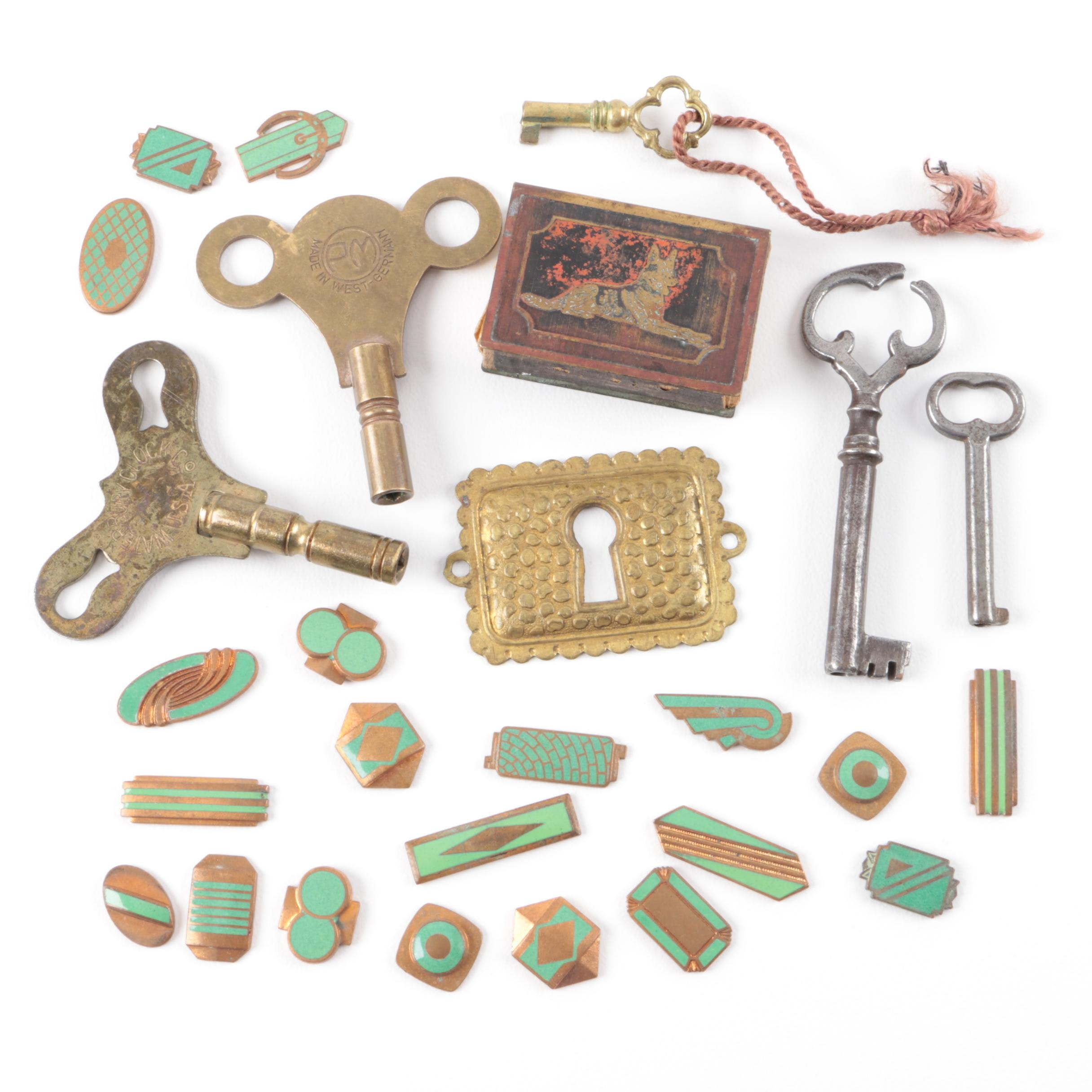 Costume Accessories Including Circa 1940s Enamel on Copper
