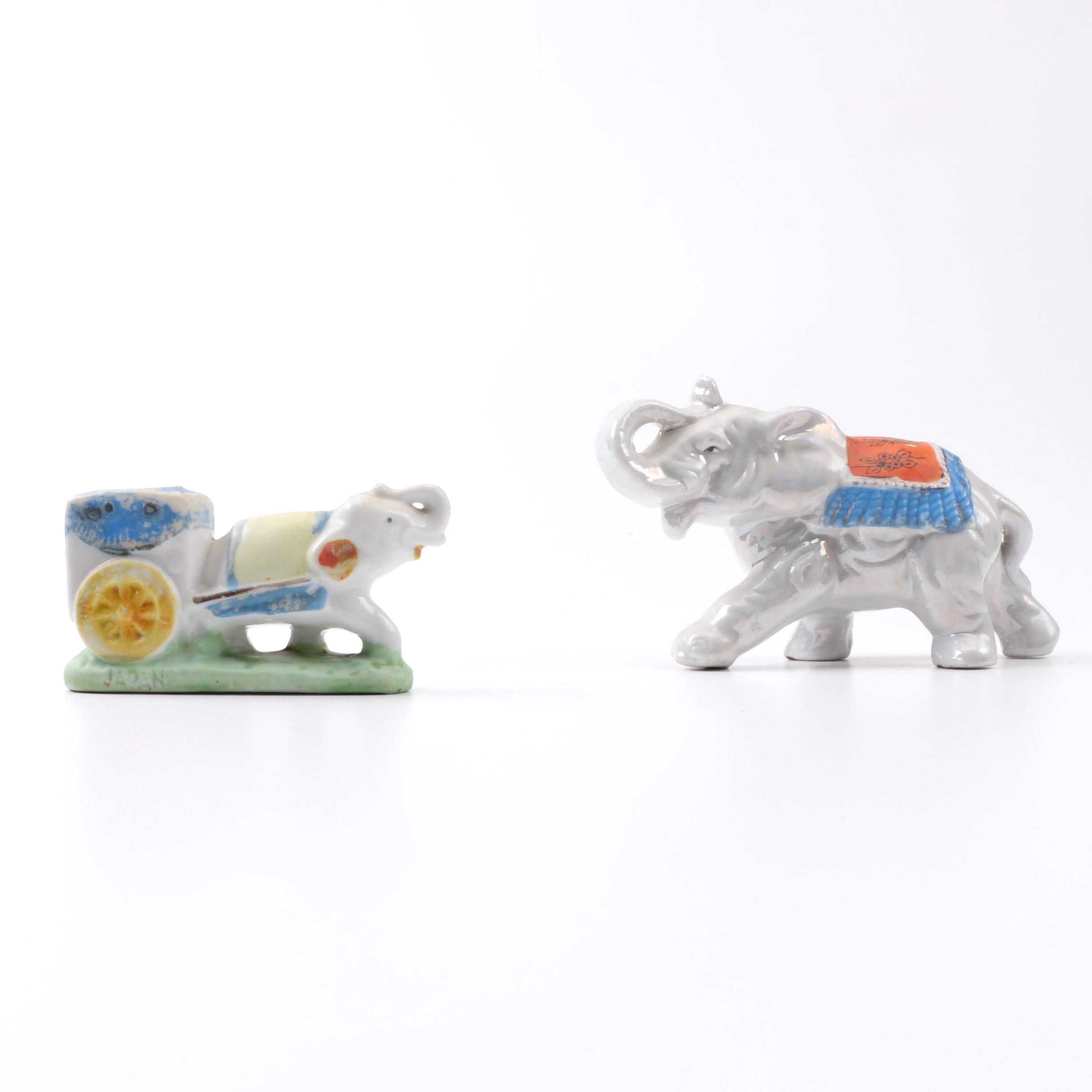 Ceramic Elephant Coin Bank and Toothpick Holder