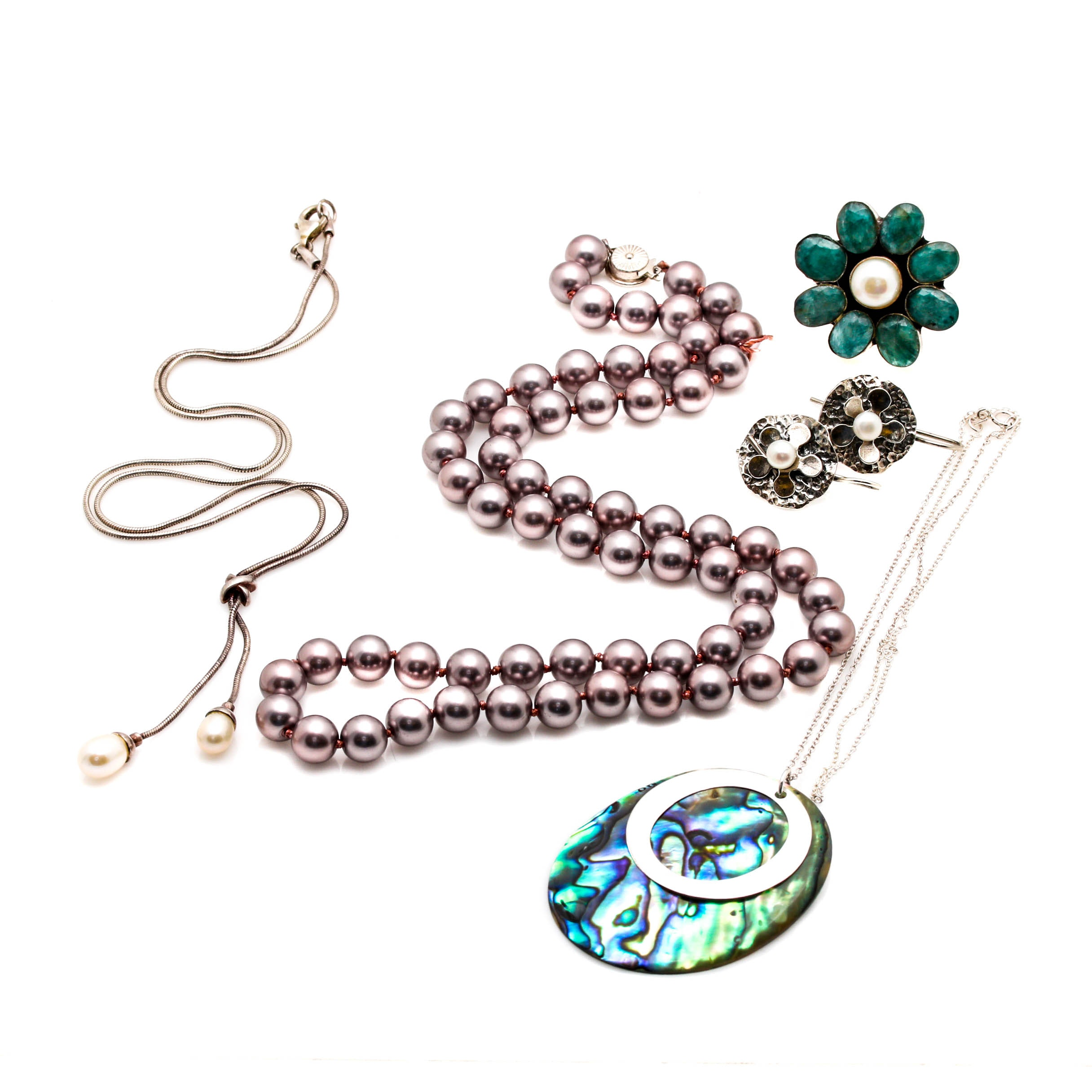 Grouping of Sterling Silver Jewelry Including Abalone
