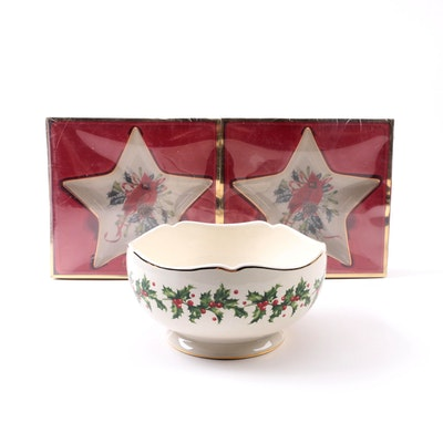 Holiday decor auctions christmas decor auctions in home lenox winter greetings candy dishes and holly m4hsunfo