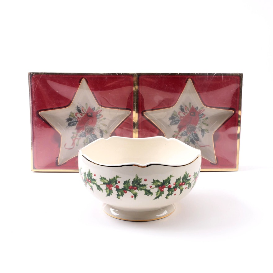 Lenox winter greetings candy dishes and holly berry bowl ebth lenox winter greetings candy dishes and holly m4hsunfo