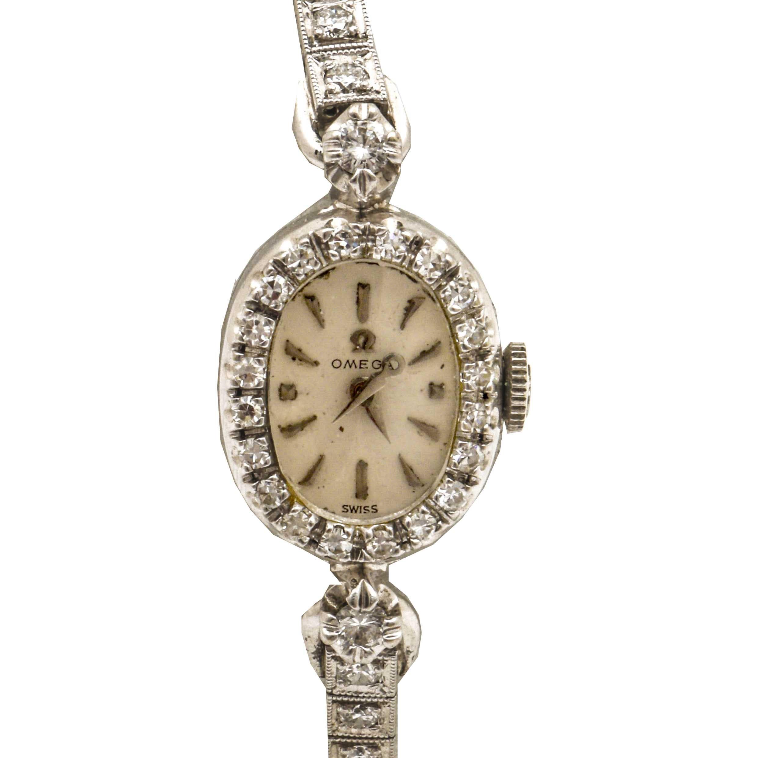 Omega 14K White Gold 1.86 CTW Diamond Wristwatch
