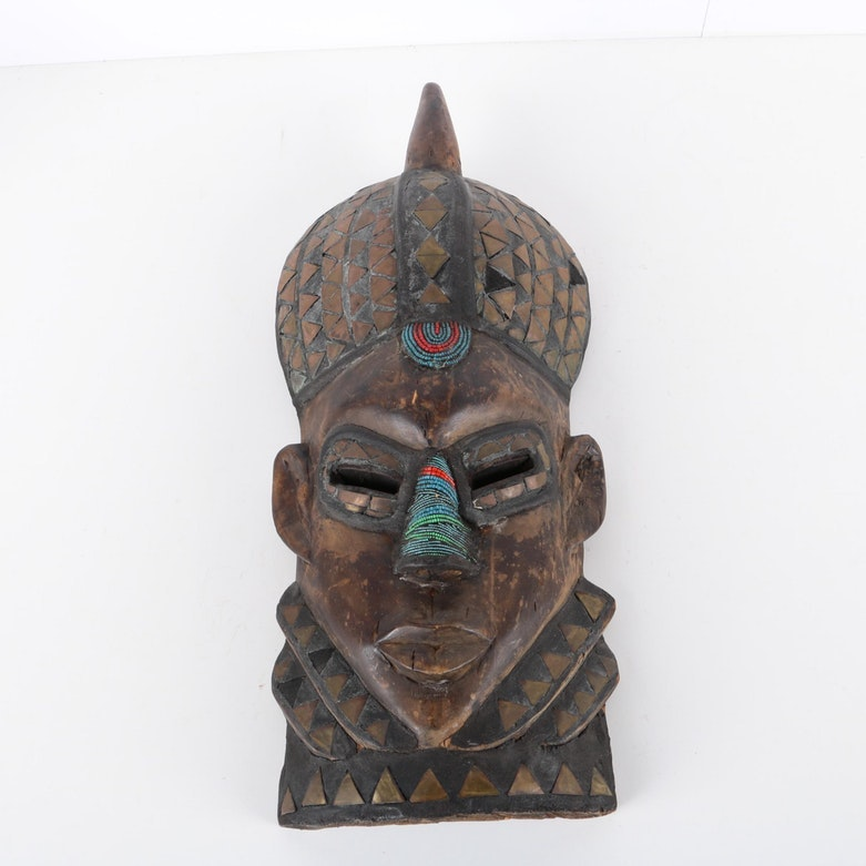 Ghanaian Style Carved Wood Mask