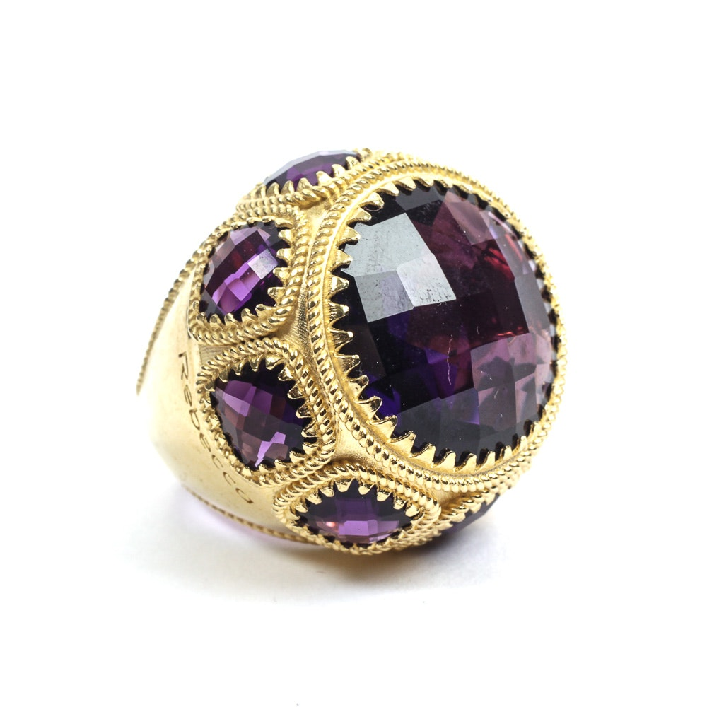 Rebecca Designer Gold Tone Ring with Purple Amethysts