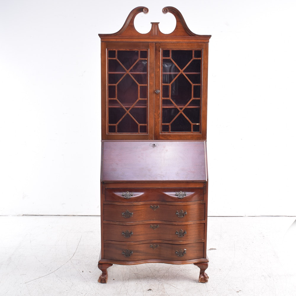Vintage Mahogany Chippendale Style Secretary Desk