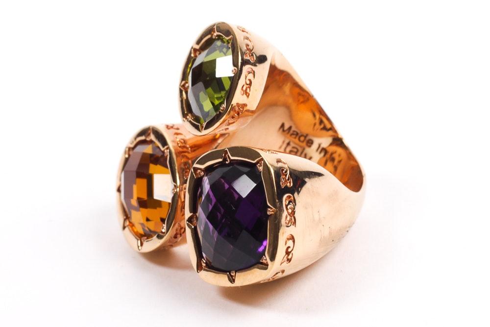 Rebecca Italian Designer Multi Stone Ring