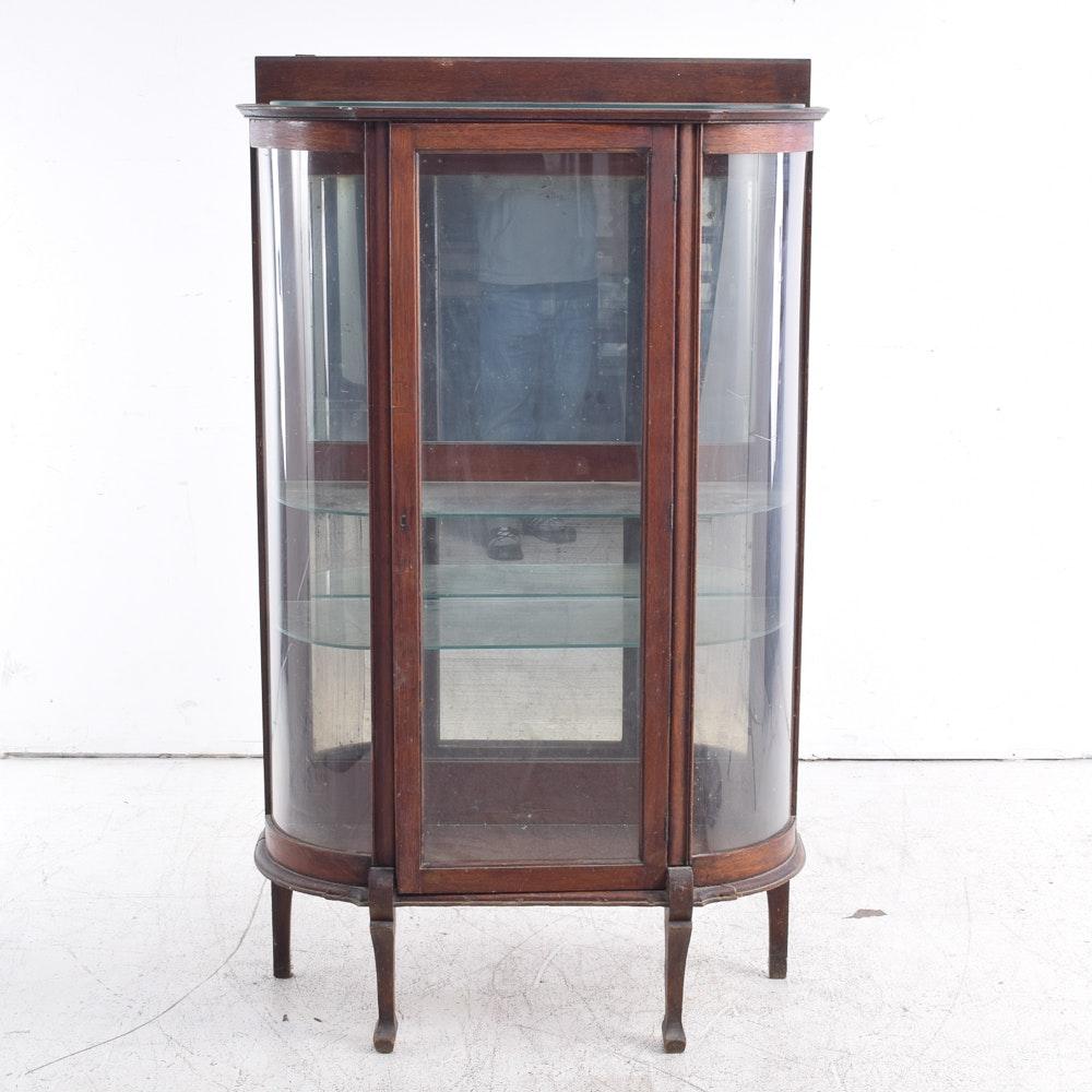 Vintage Oak Demilune Curio Cabinet
