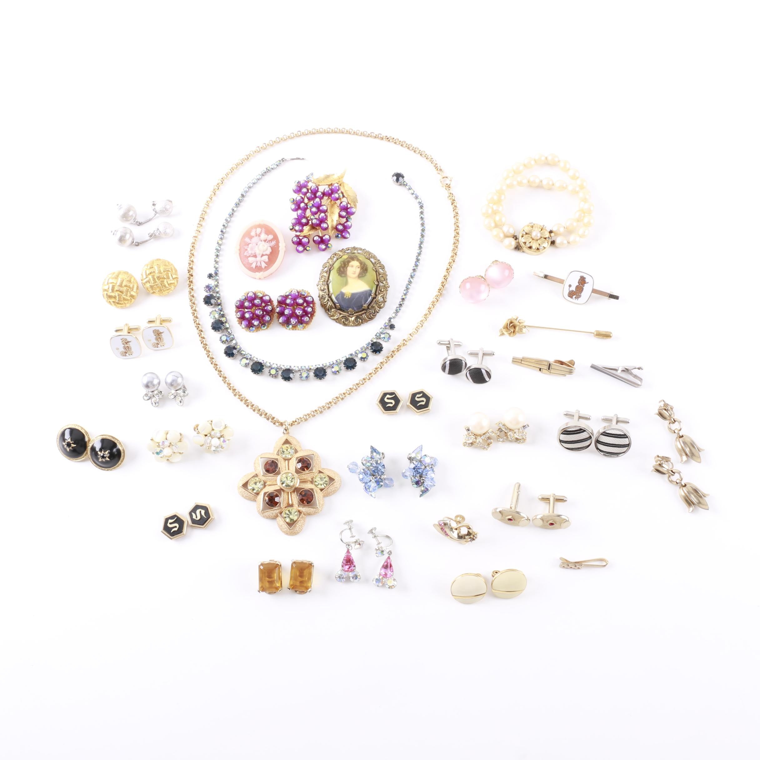 Assortment of Gold Tone Costume Jewelry