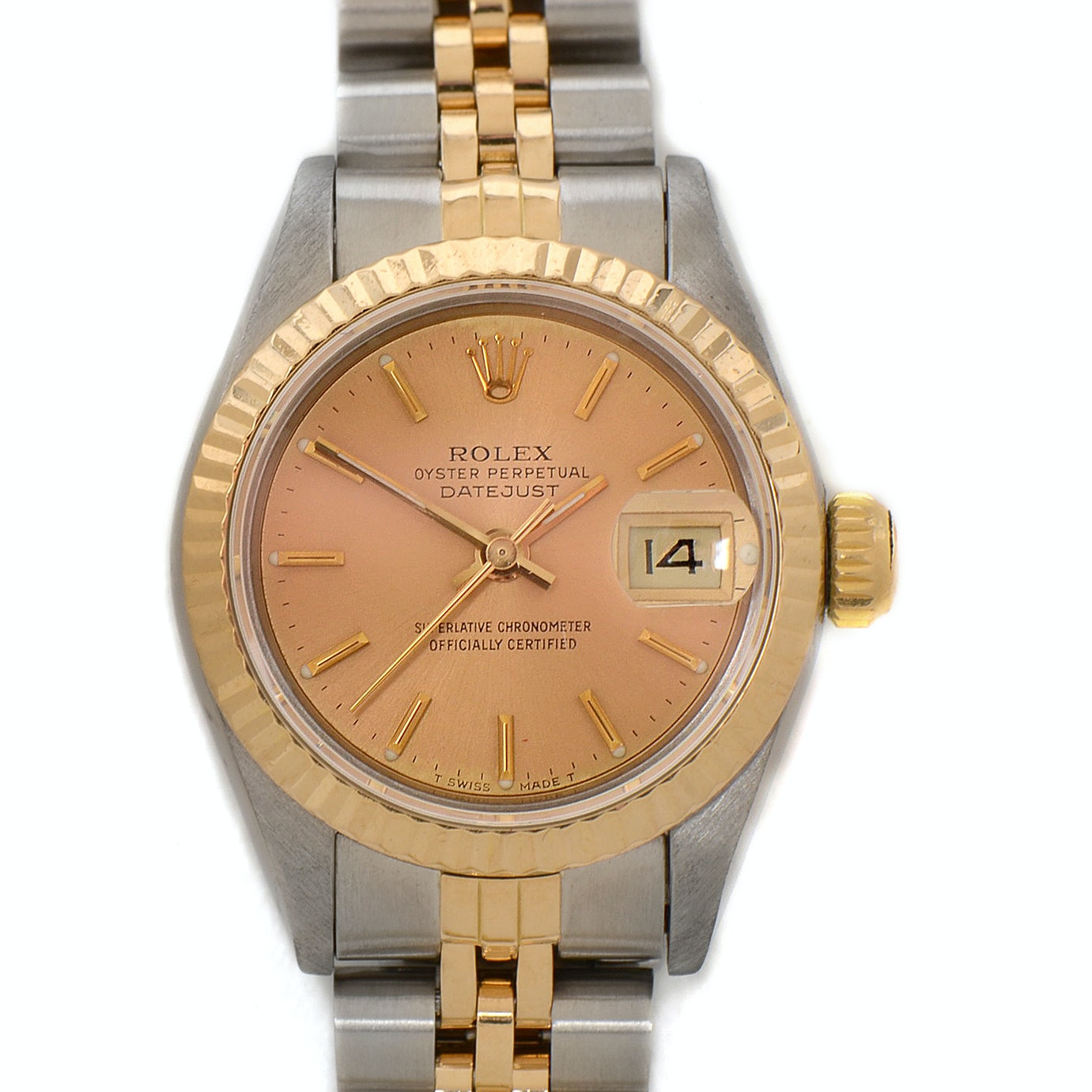 Rolex Datejust 18K Yellow Gold Stainless Steel Champagne Dial 26mm Wristwatch