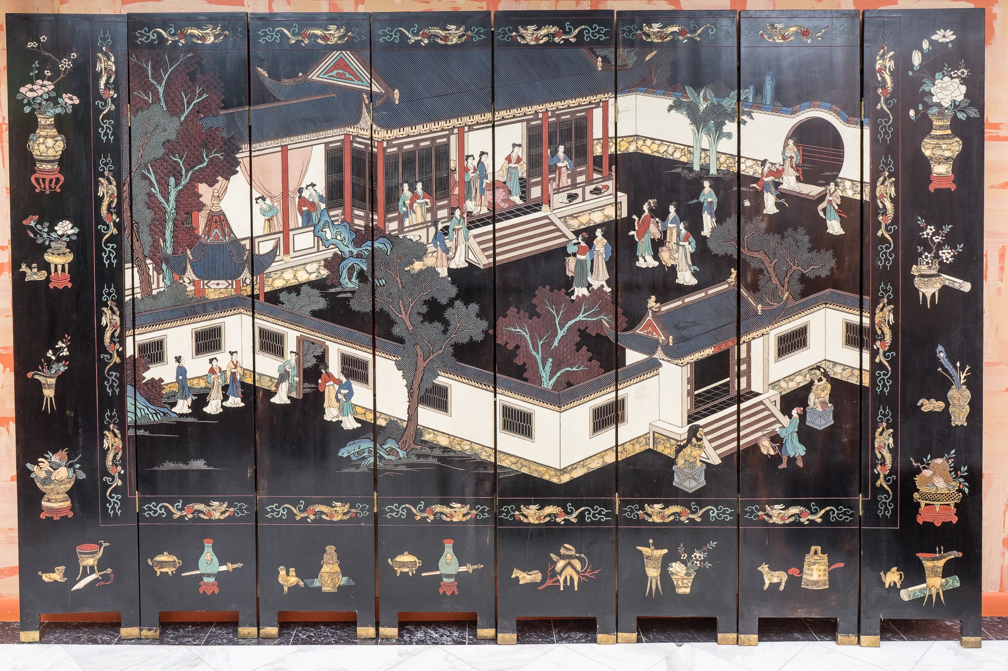 East Asian Painted Room Divider Screens