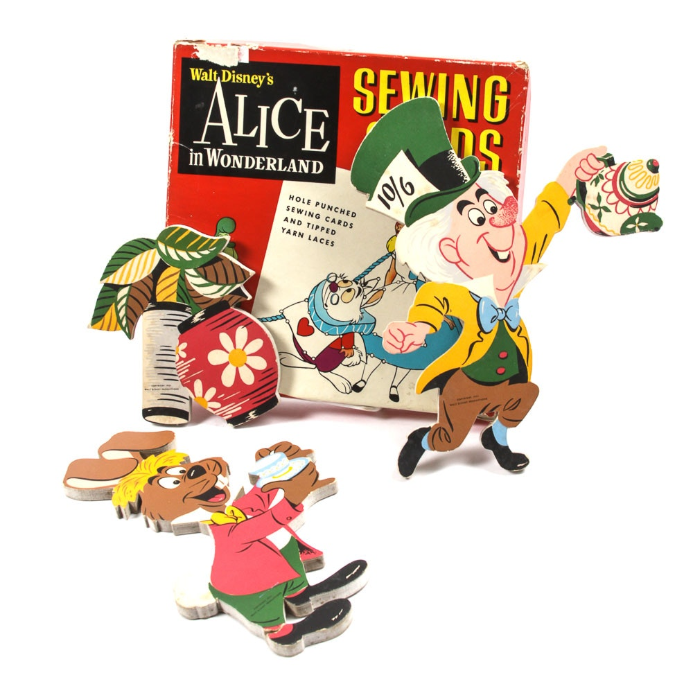 """1950s """"Alice in Wonderland"""" Sewing Cards and """"Pin-Ups"""" Wall Décor"""