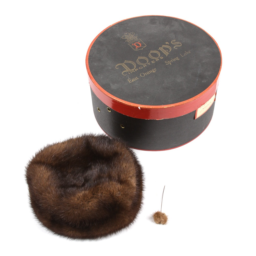 Vintage Mink Hat with Box