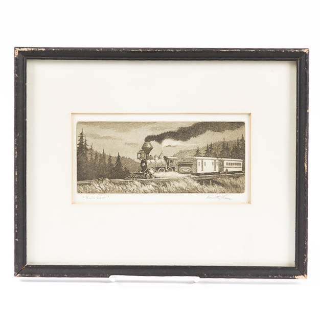 "Kenneth Reeve Aquatint Etching on Paper ""Rails West"""