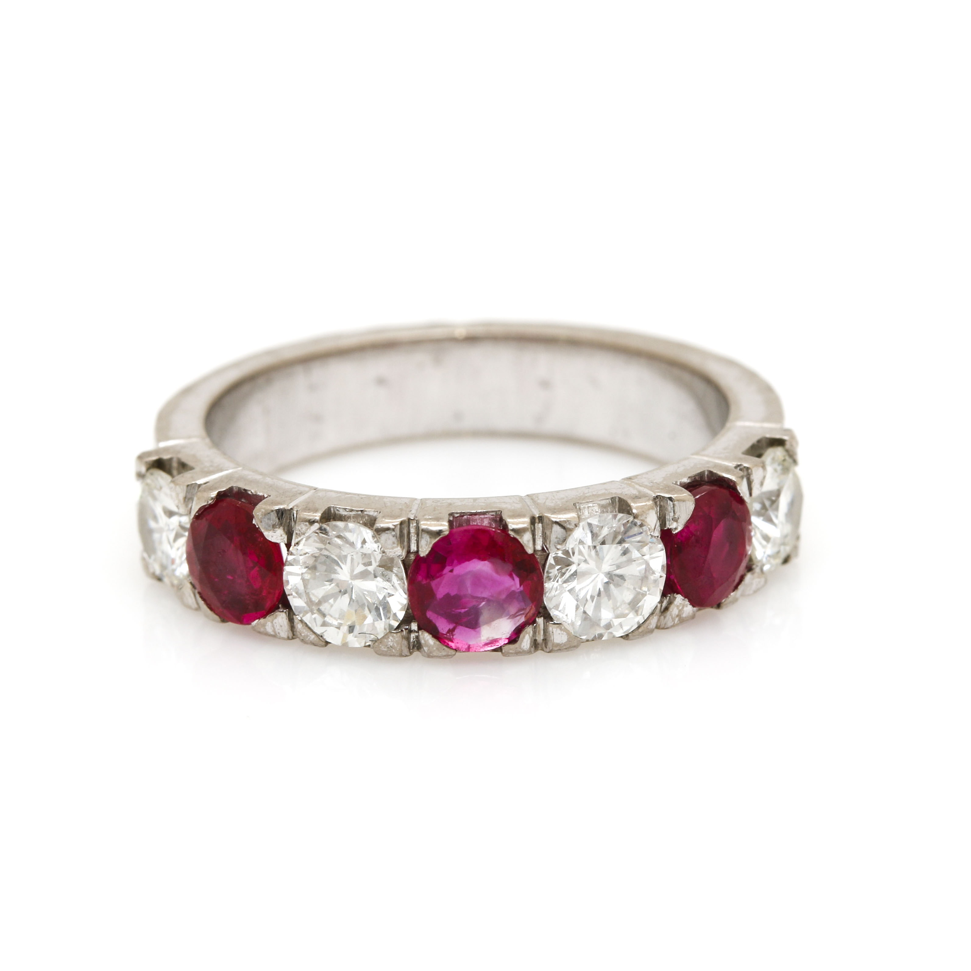 18K White Gold Ruby and 0.92 CTW Diamond Ring
