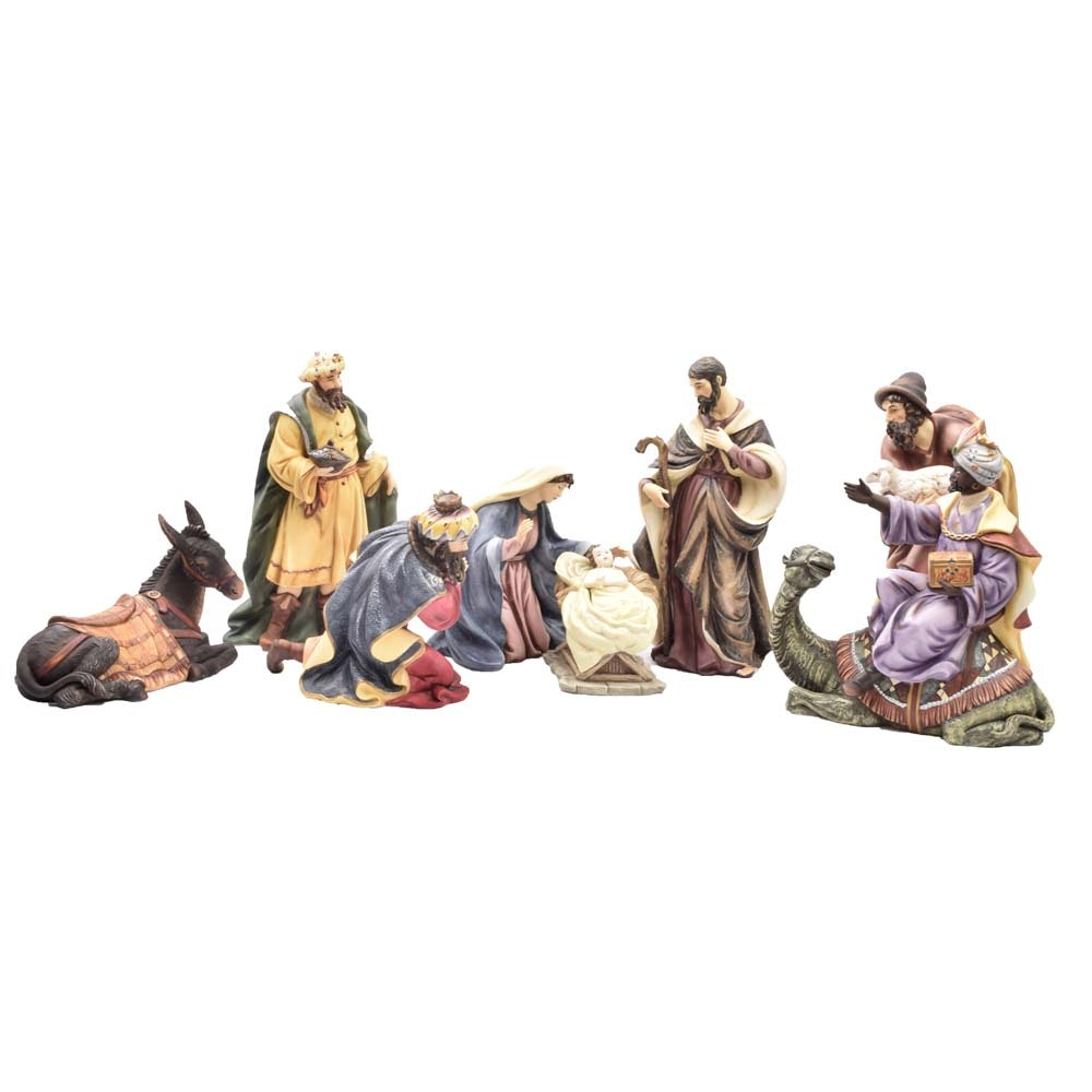 Hand Painted Porcelain Nativity Set