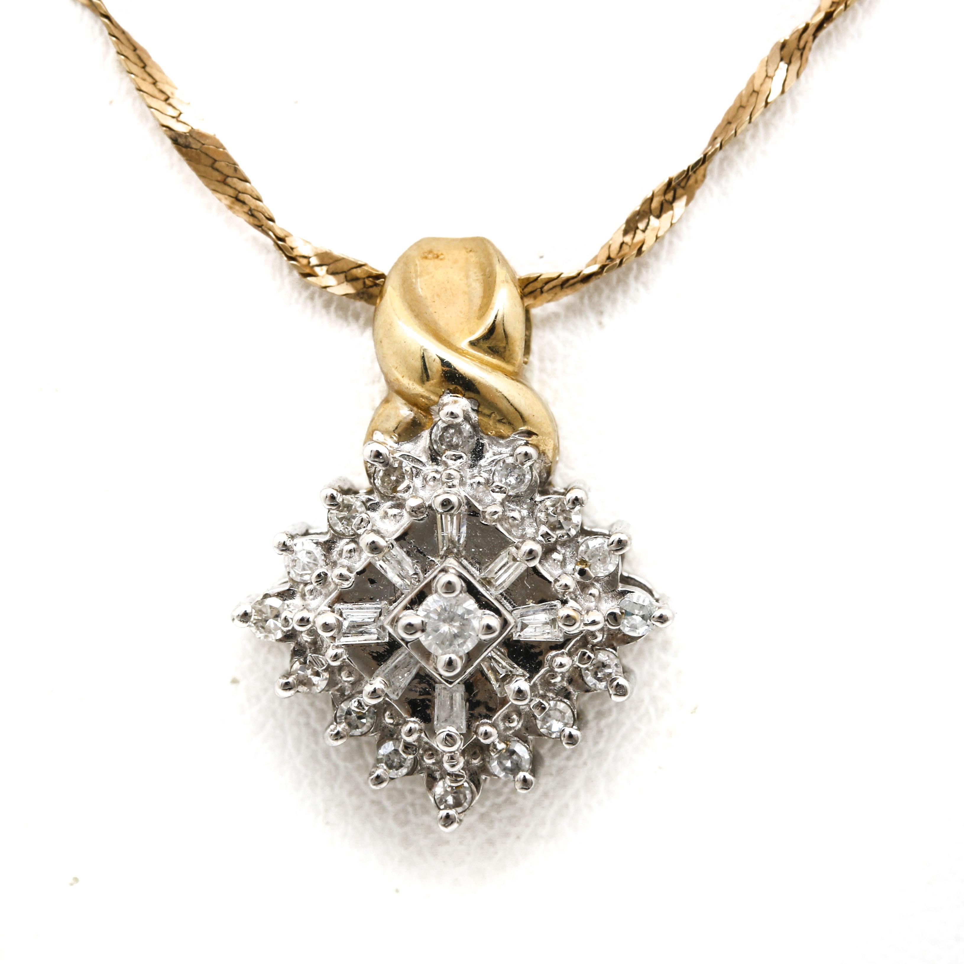 10K Two Tone Gold Diamond Pendant on a 14K Yellow Gold Chain